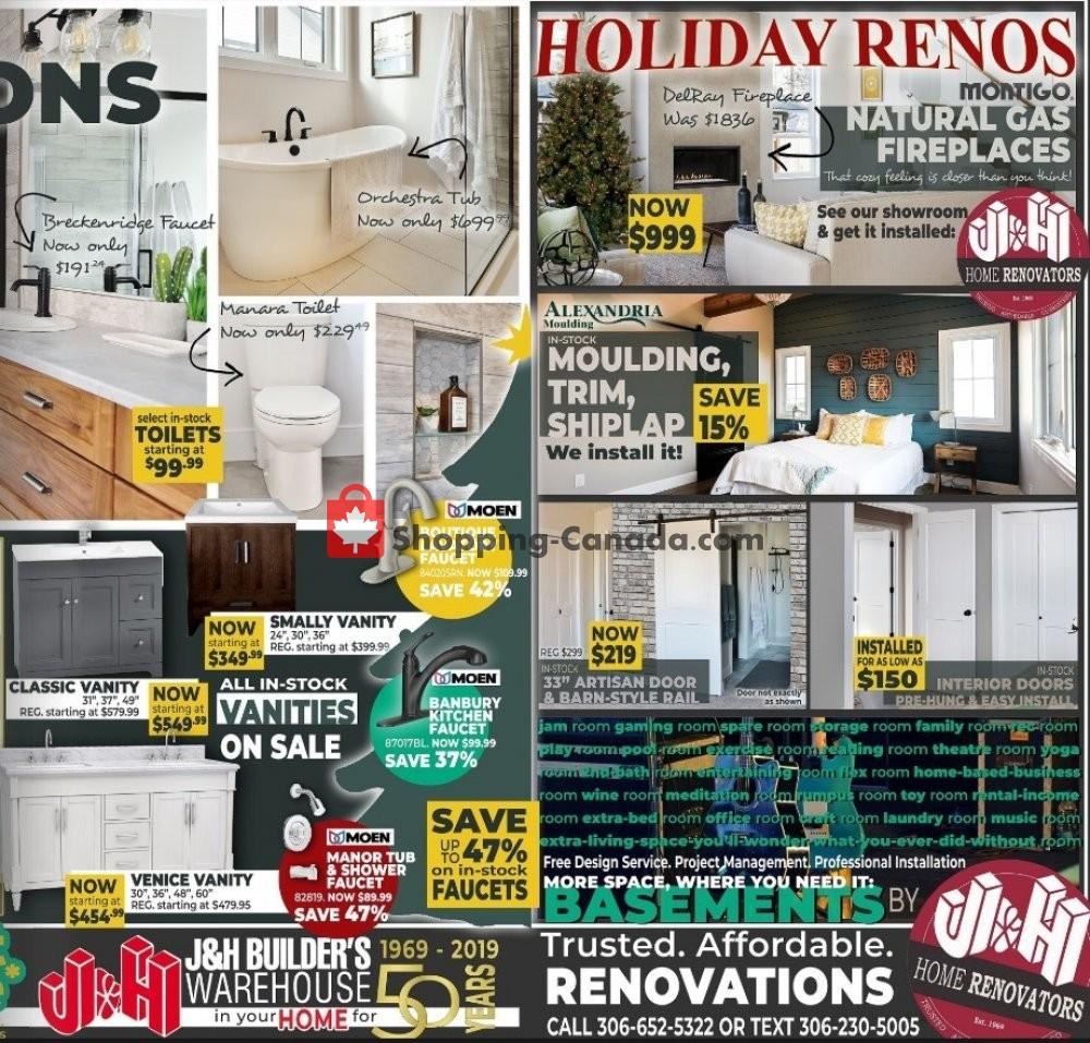 Flyer J&H Builder's Warehouse Canada - from Wednesday November 6, 2019 to Thursday December 19, 2019