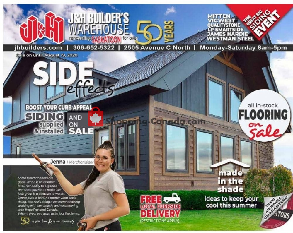Flyer J&H Builder's Warehouse Canada - from Friday July 31, 2020 to Wednesday August 19, 2020