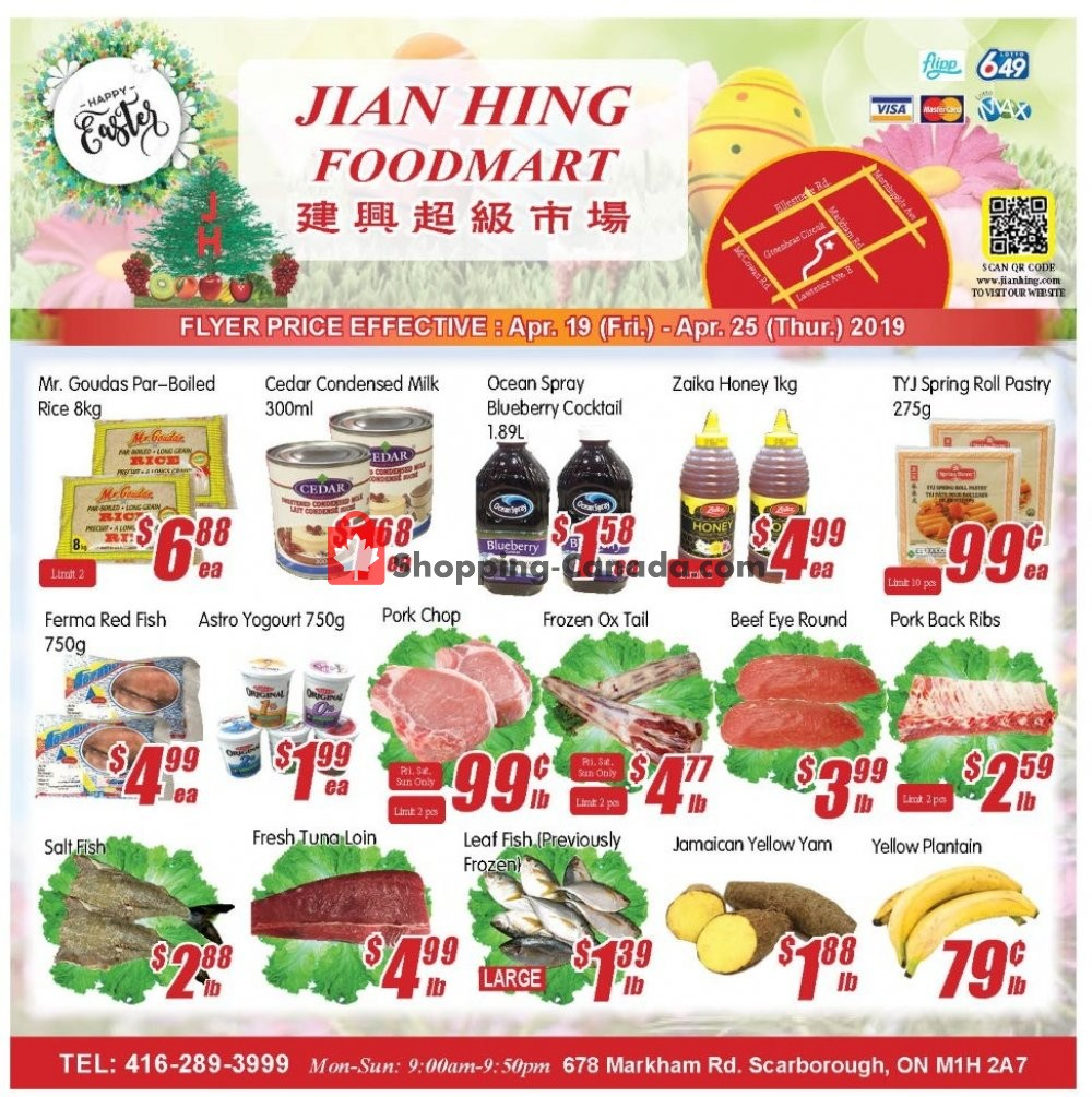 Flyer Jian Hing Supermarket Canada - from Friday April 19, 2019 to Thursday April 25, 2019