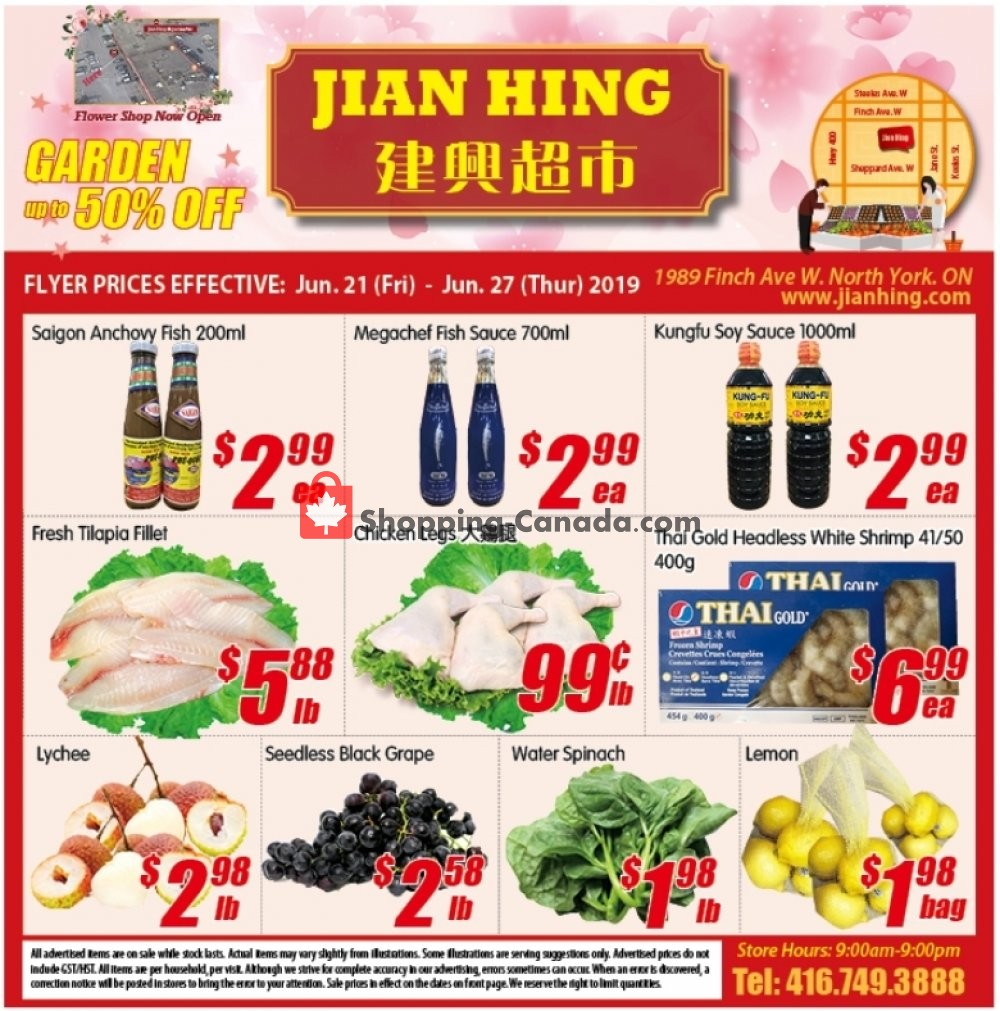 Flyer Jian Hing Supermarket Canada - from Friday June 21, 2019 to Thursday June 27, 2019