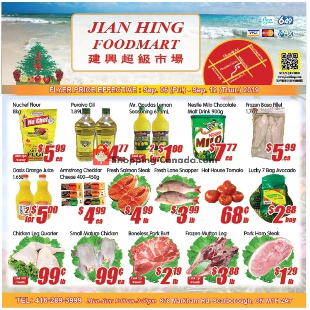 Flyer Jian Hing Supermarket Canada - from Friday September 6, 2019 to Thursday September 12, 2019