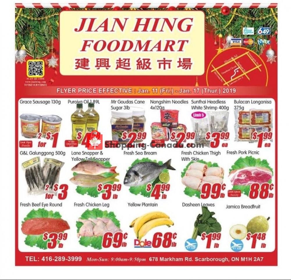 Flyer Jian Hing Supermarket Canada - from Friday January 11, 2019 to Thursday January 17, 2019