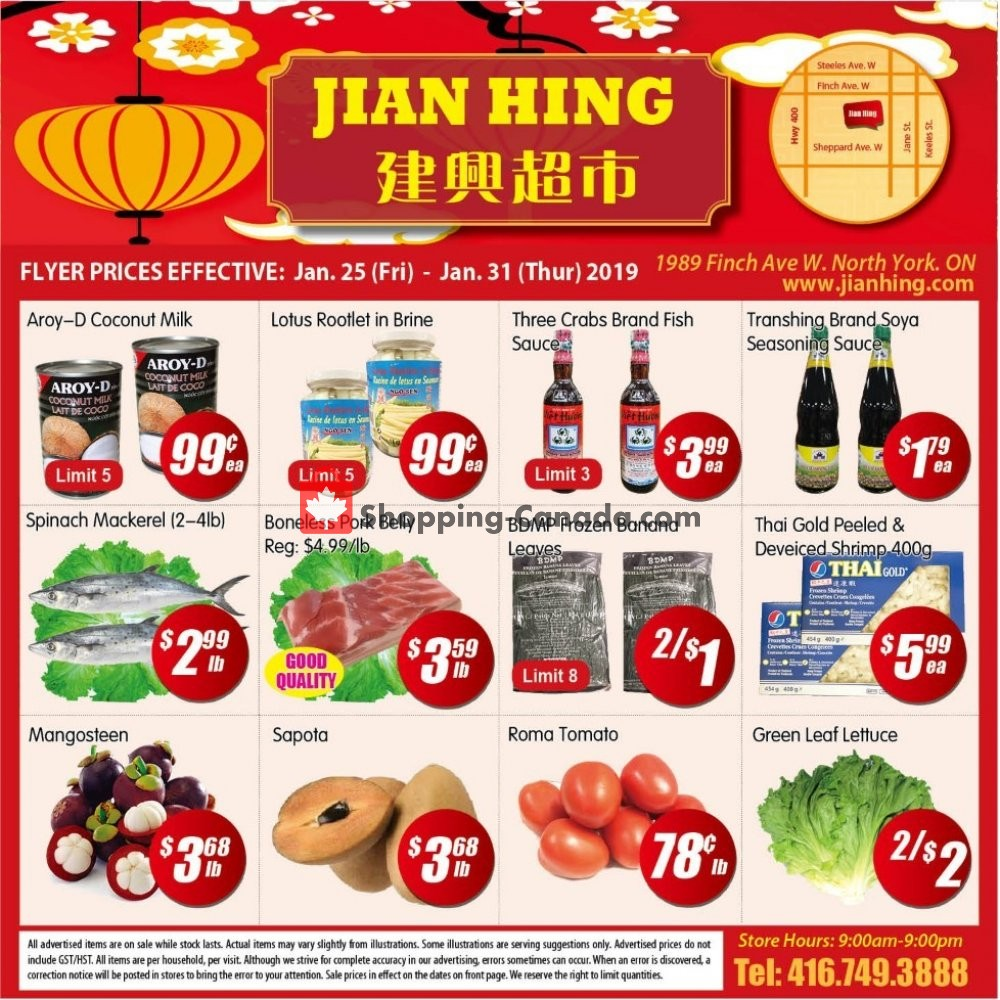 Flyer Jian Hing Supermarket Canada - from Friday January 25, 2019 to Thursday January 31, 2019