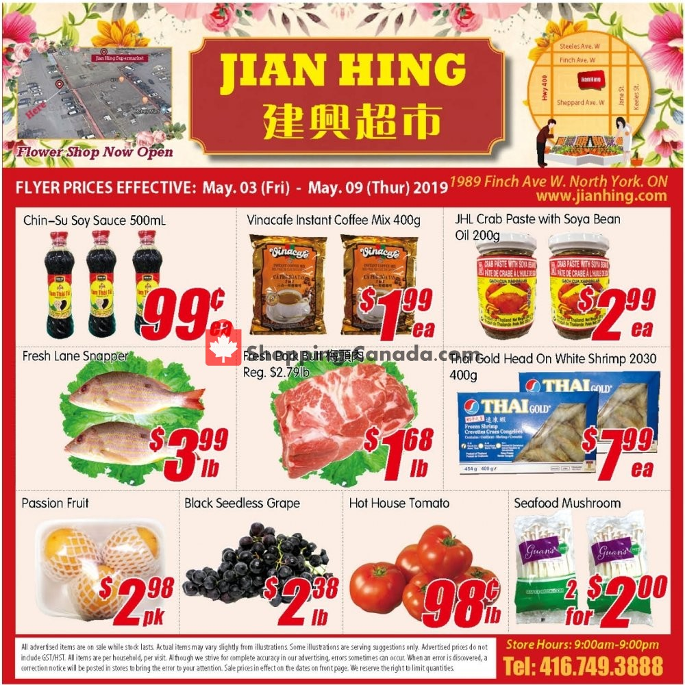 Flyer Jian Hing Supermarket Canada - from Friday May 3, 2019 to Thursday May 9, 2019