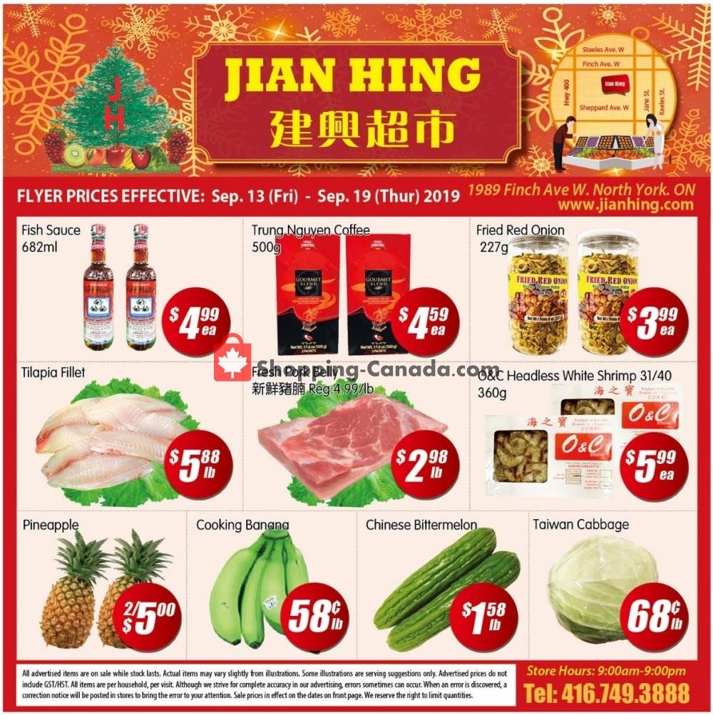 Flyer Jian Hing Supermarket Canada - from Friday September 13, 2019 to Thursday September 19, 2019