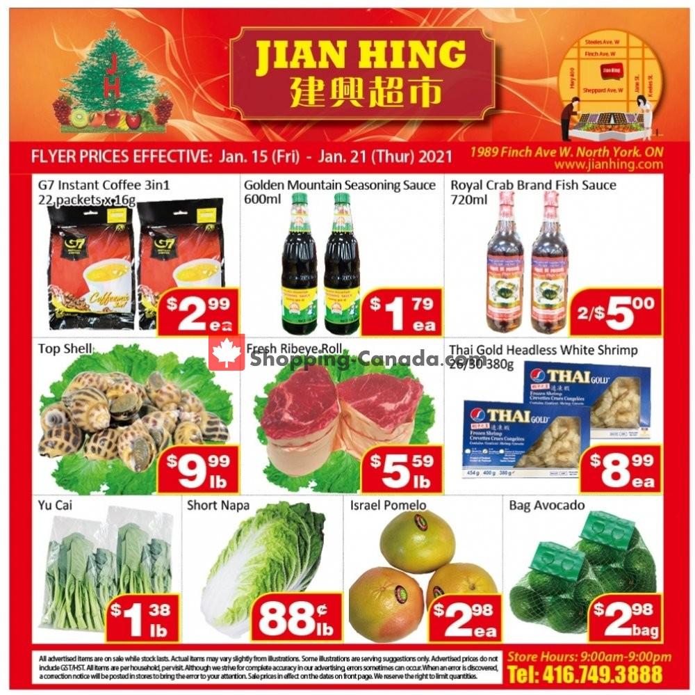 Flyer Jian Hing Supermarket Canada - from Friday January 15, 2021 to Thursday January 21, 2021