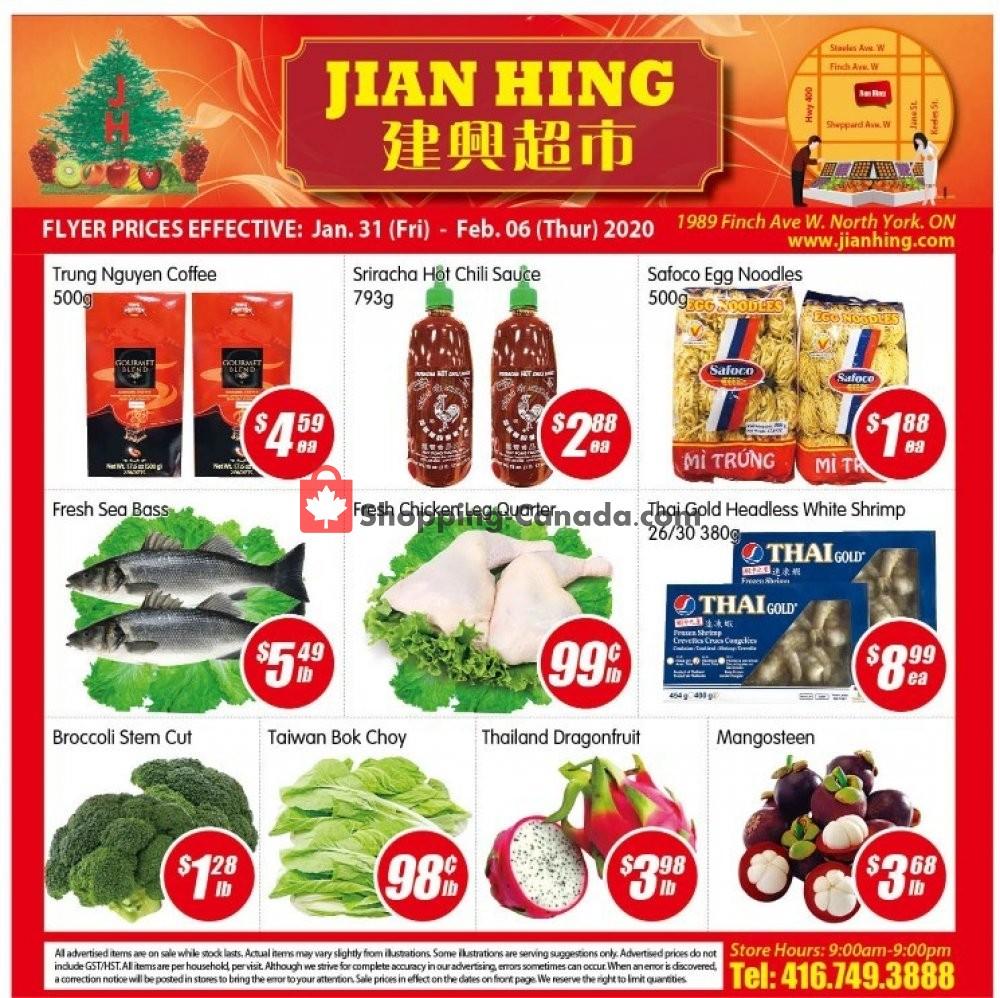 Flyer Jian Hing Supermarket Canada - from Friday January 31, 2020 to Thursday February 6, 2020