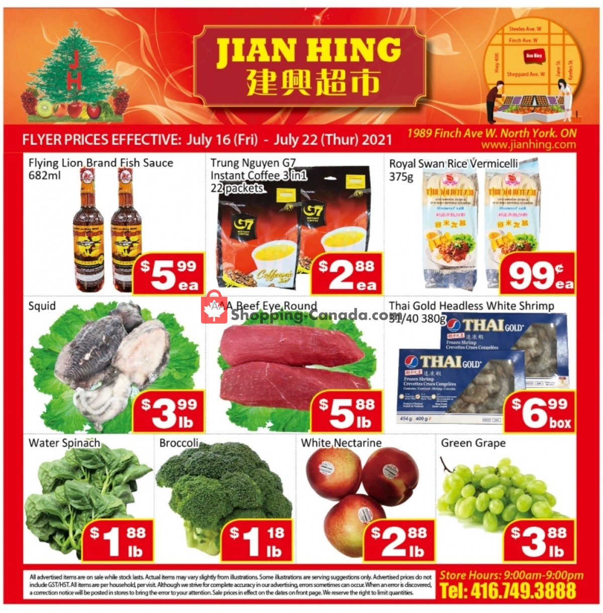 Flyer Jian Hing Supermarket Canada - from Friday July 16, 2021 to Thursday July 22, 2021