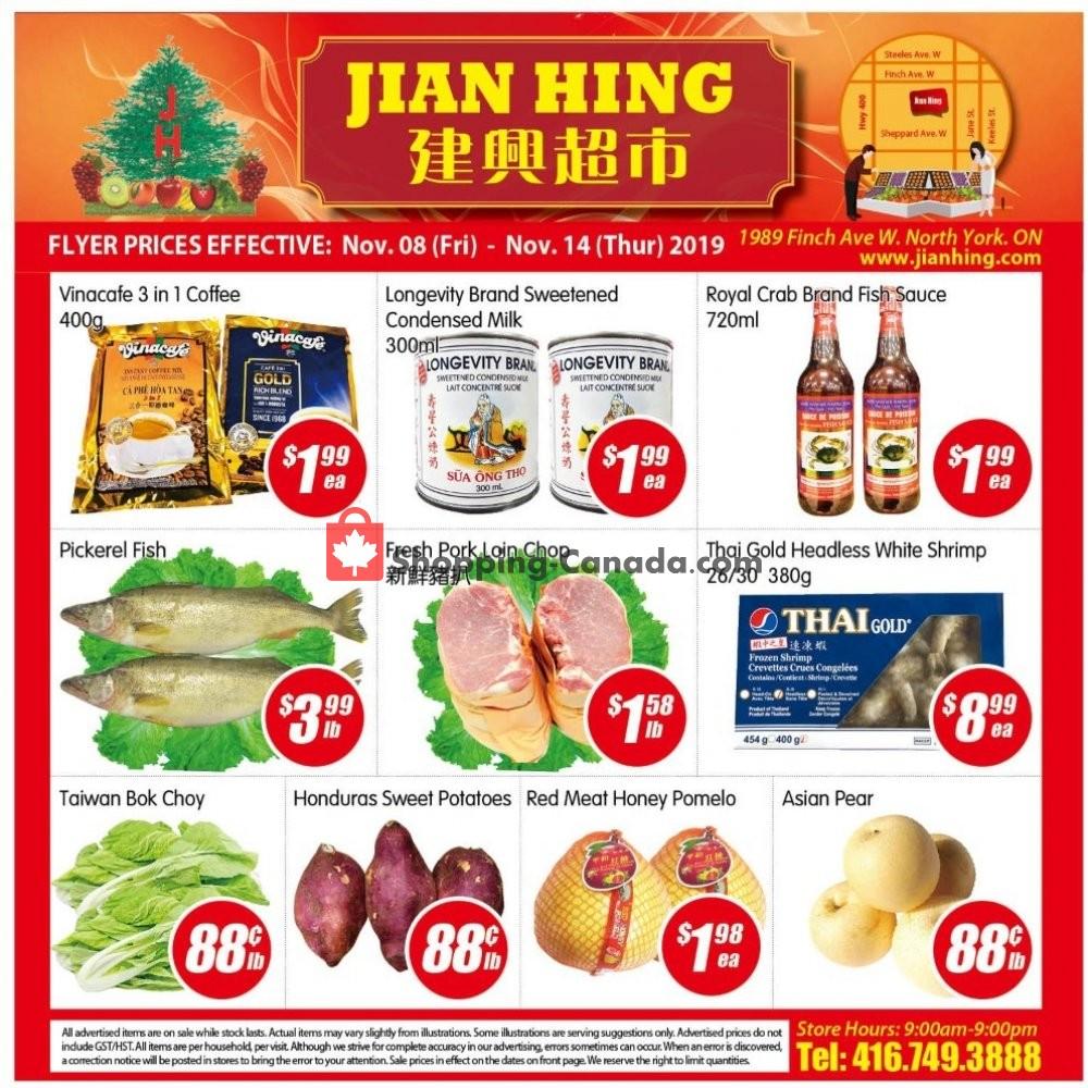 Flyer Jian Hing Supermarket Canada - from Friday November 8, 2019 to Thursday November 14, 2019