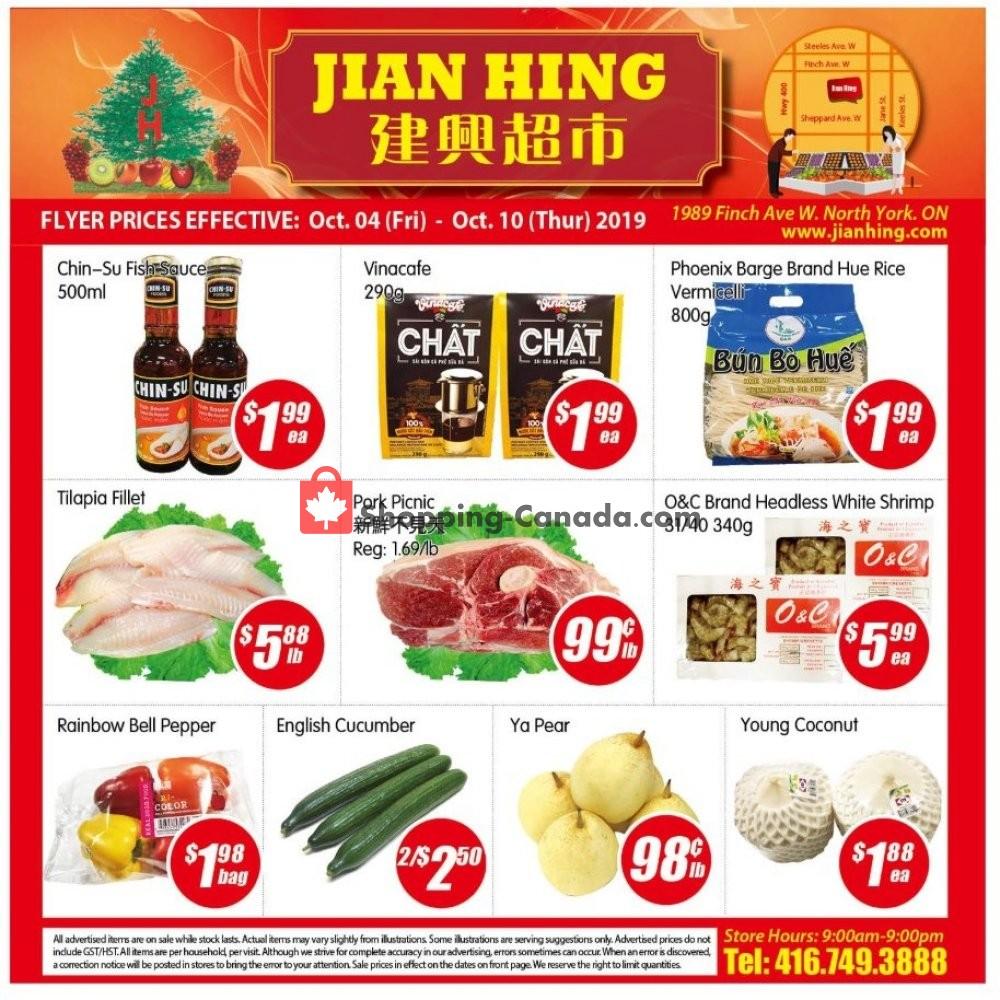Flyer Jian Hing Supermarket Canada - from Friday October 4, 2019 to Thursday October 10, 2019