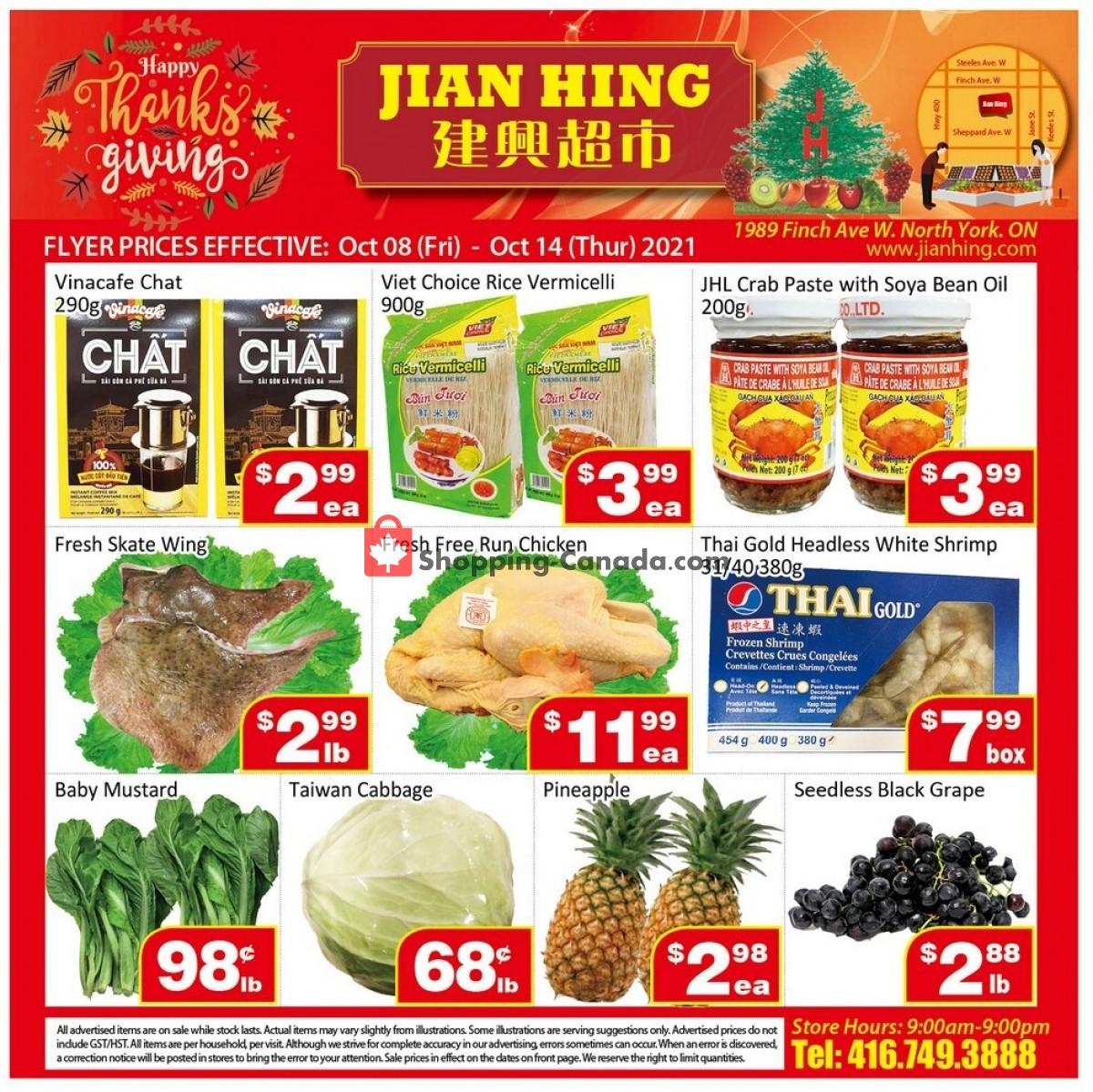 Flyer Jian Hing Supermarket Canada - from Friday October 8, 2021 to Thursday October 14, 2021