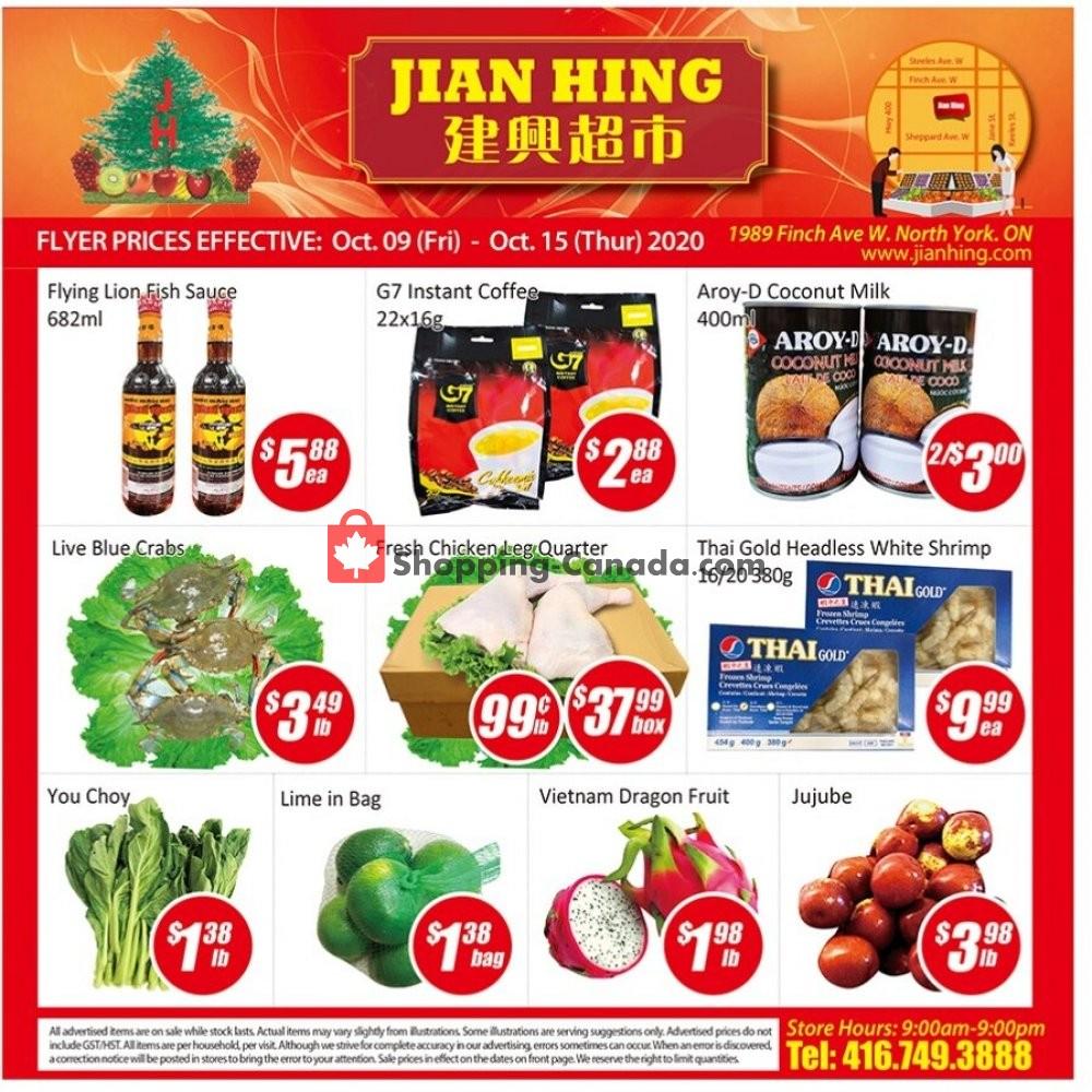 Flyer Jian Hing Supermarket Canada - from Friday October 9, 2020 to Thursday October 15, 2020