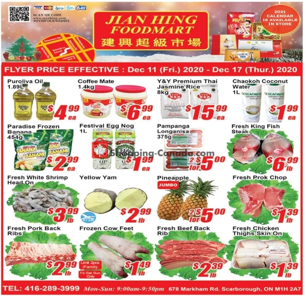 Flyer Jian Hing Supermarket Canada - from Monday January 11, 2021 to Sunday January 17, 2021
