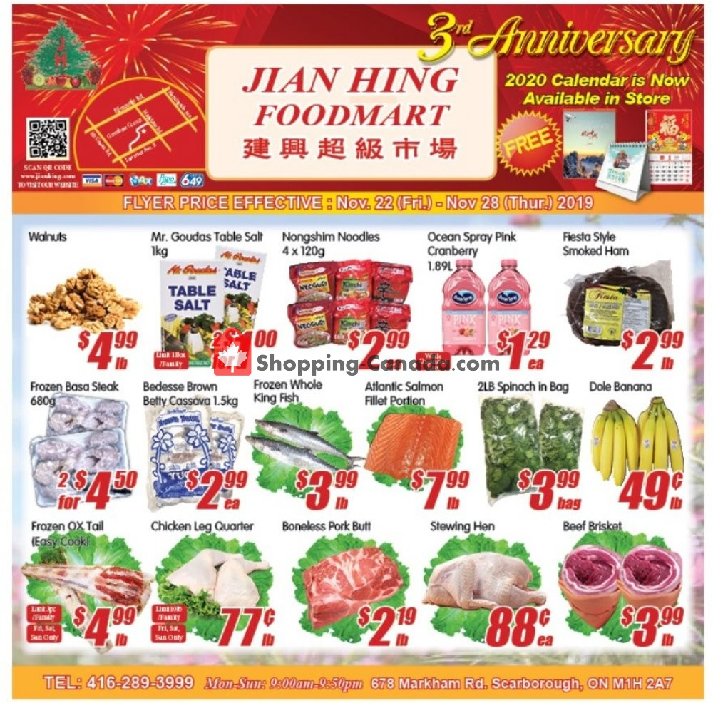 Flyer Jian Hing Supermarket Canada - from Friday November 22, 2019 to Thursday November 28, 2019