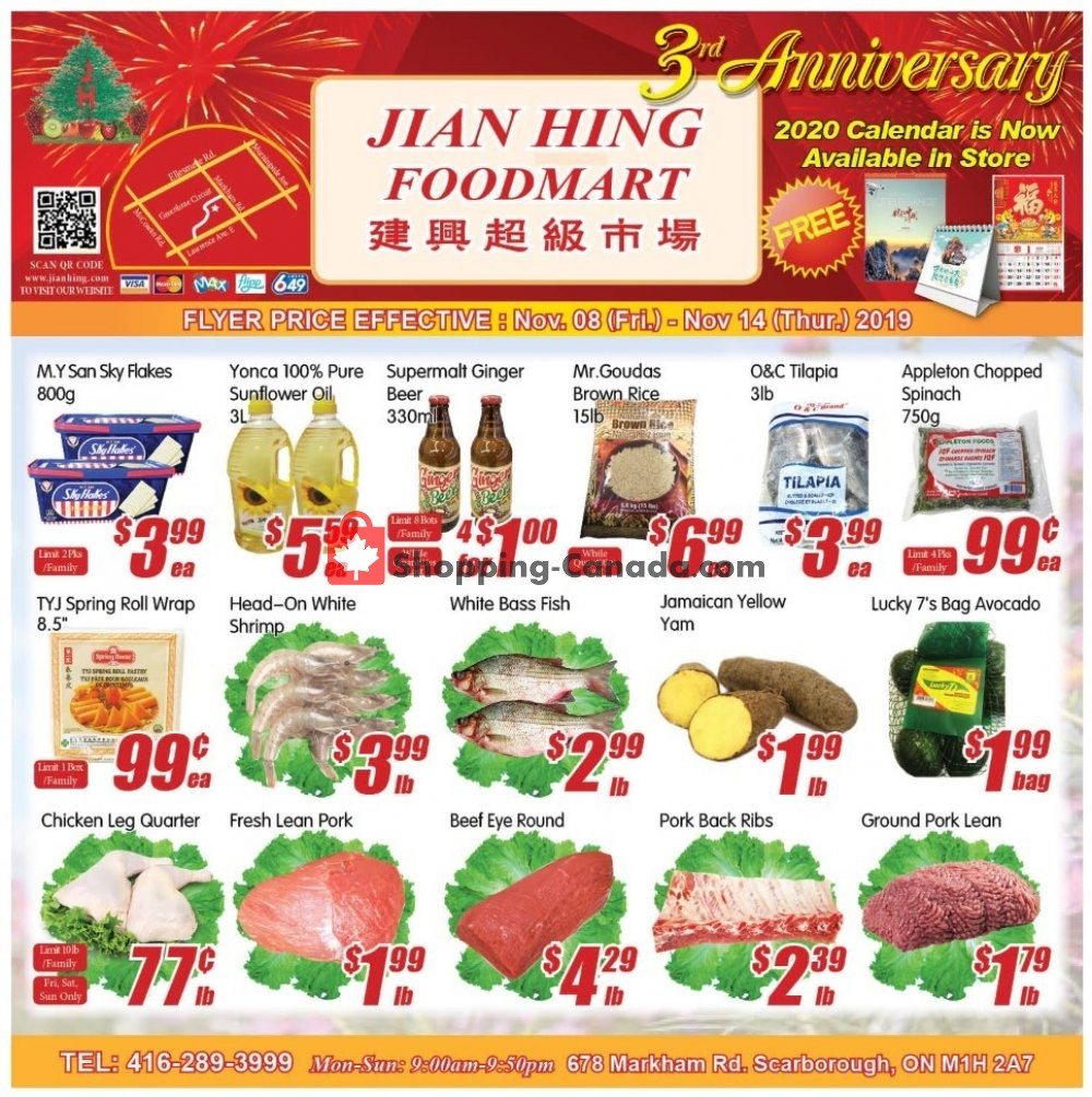 Flyer Jian Hing Supermarket Canada - from Friday November 8, 2019 to Thursday November 14, 2019