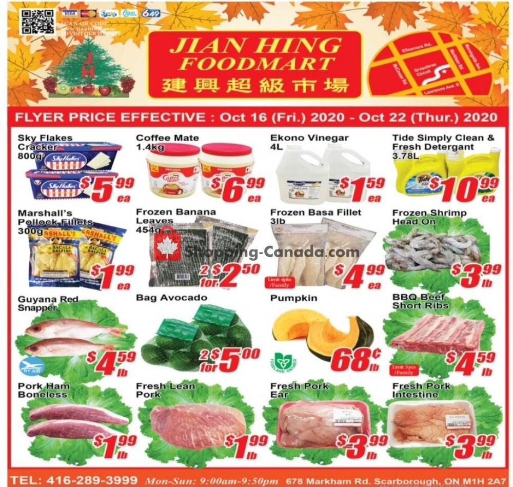 Flyer Jian Hing Supermarket Canada - from Friday October 16, 2020 to Thursday October 22, 2020