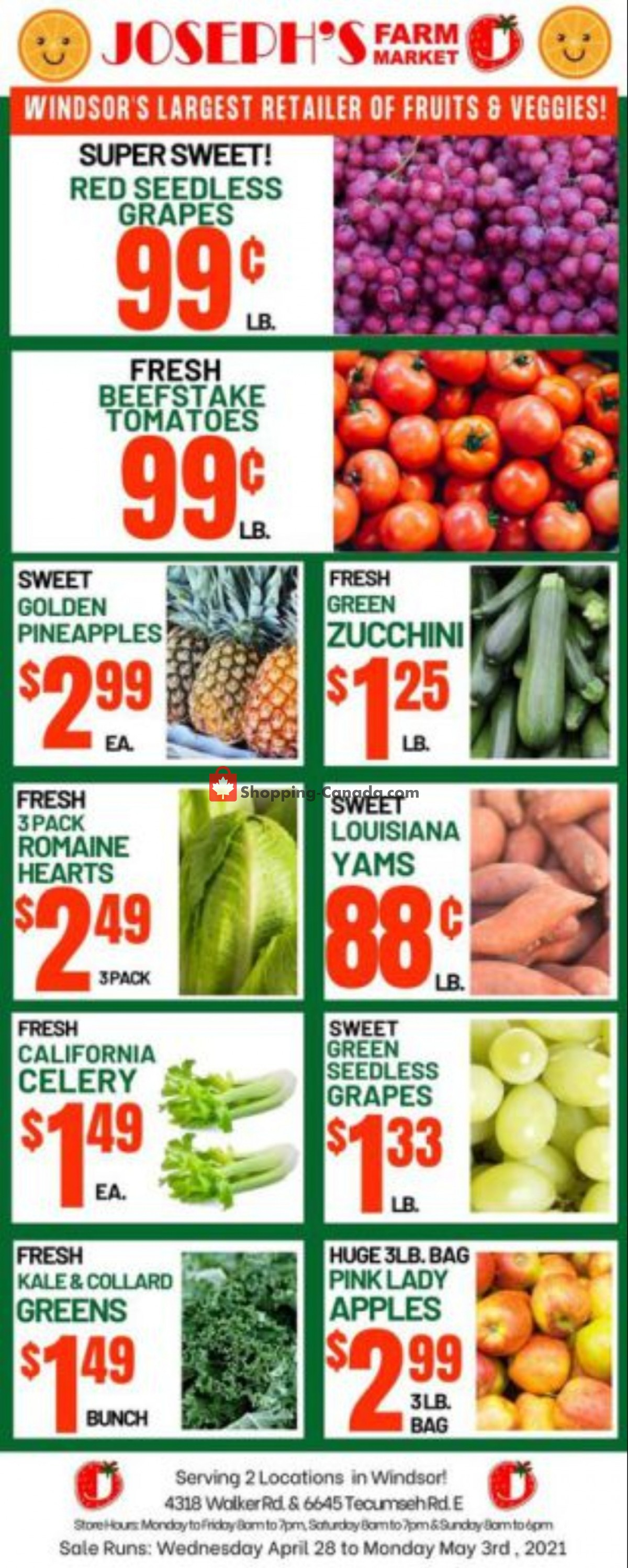 Flyer Joseph's Farm Market Canada - from Wednesday April 28, 2021 to Monday May 3, 2021