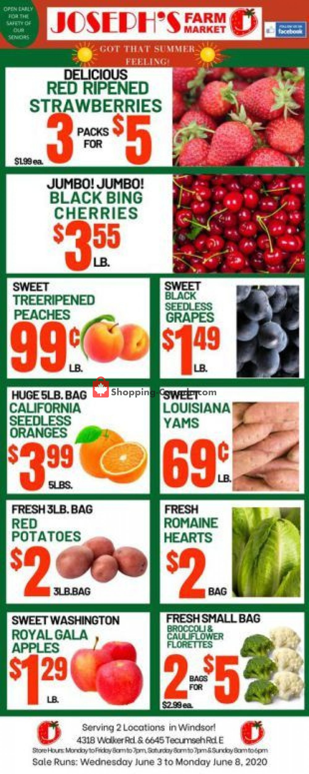 Flyer Joseph's Farm Market Canada - from Wednesday June 3, 2020 to Monday June 8, 2020