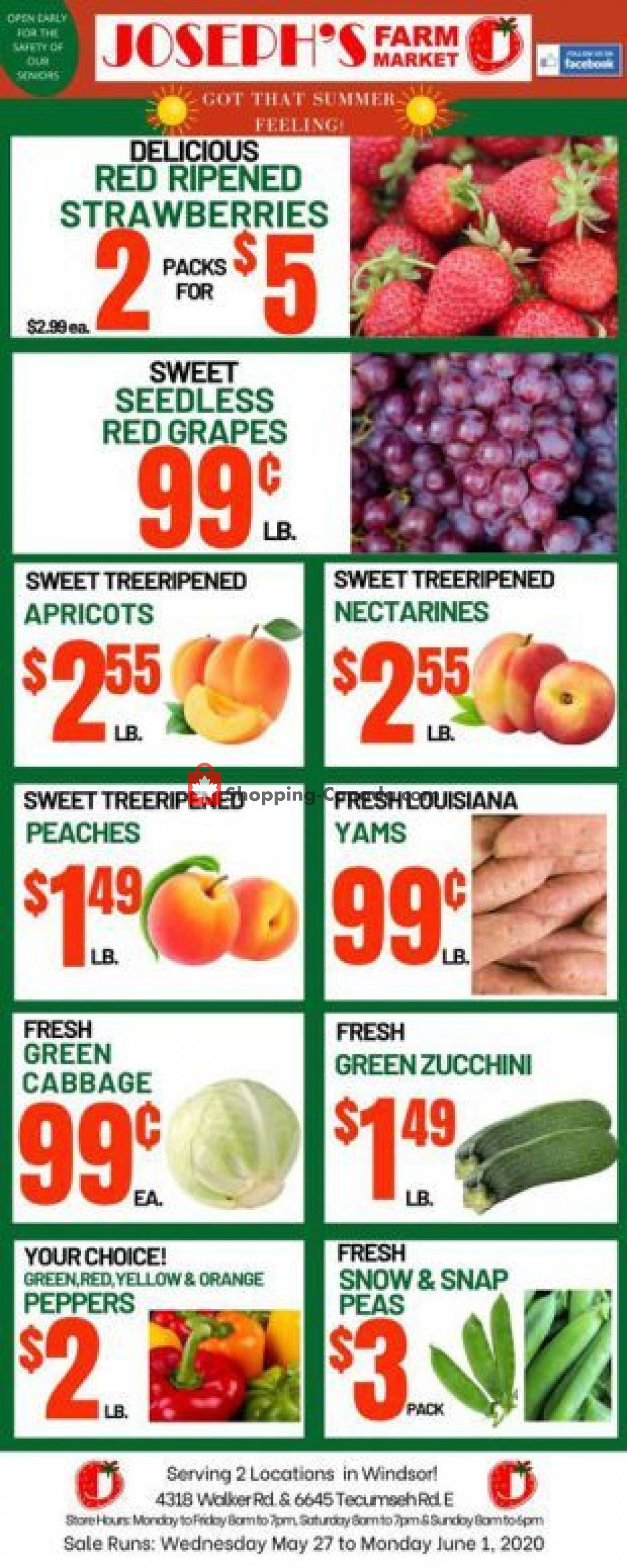 Flyer Joseph's Farm Market Canada - from Wednesday May 27, 2020 to Monday June 1, 2020