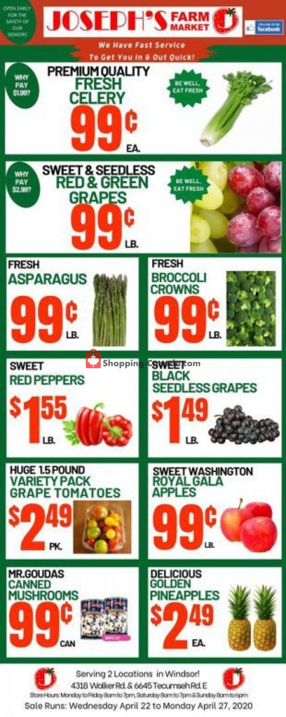 Flyer Joseph's Farm Market Canada - from Wednesday April 22, 2020 to Monday April 27, 2020
