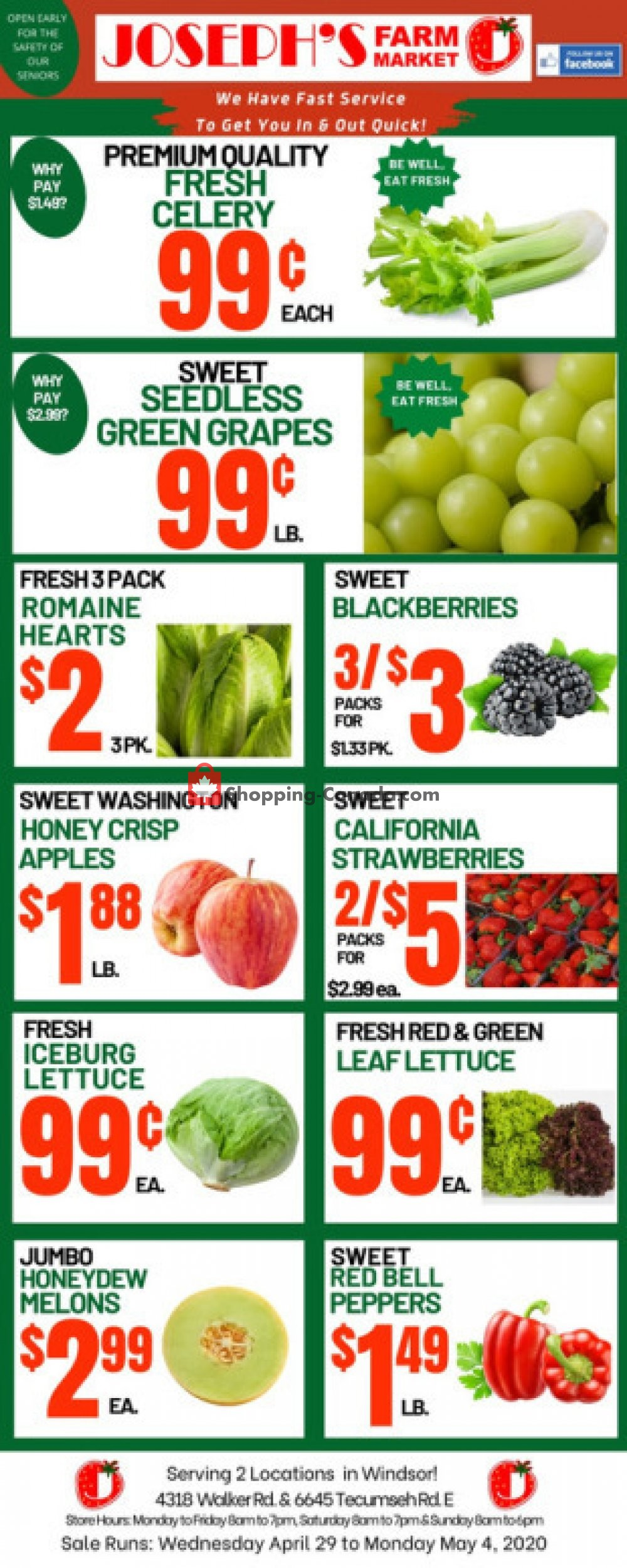Flyer Joseph's Farm Market Canada - from Wednesday April 29, 2020 to Monday May 4, 2020