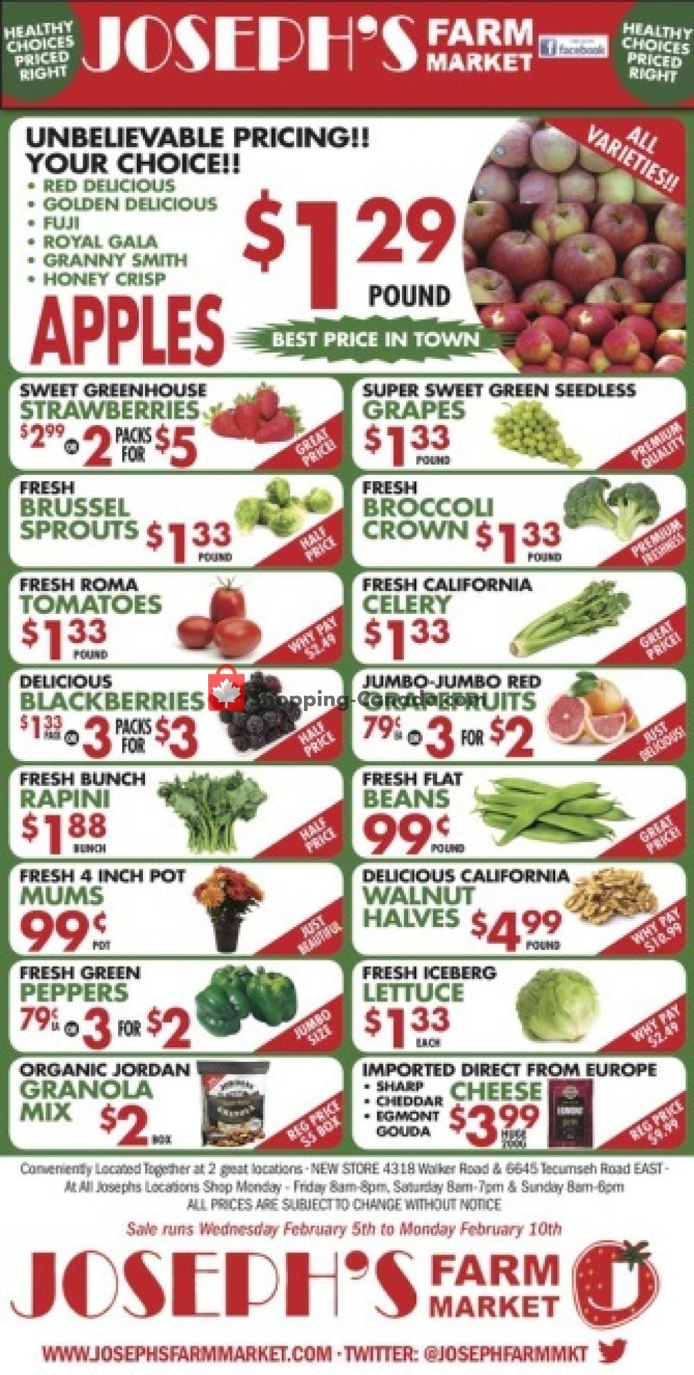 Flyer Joseph's Farm Market Canada - from Wednesday February 5, 2020 to Tuesday February 11, 2020