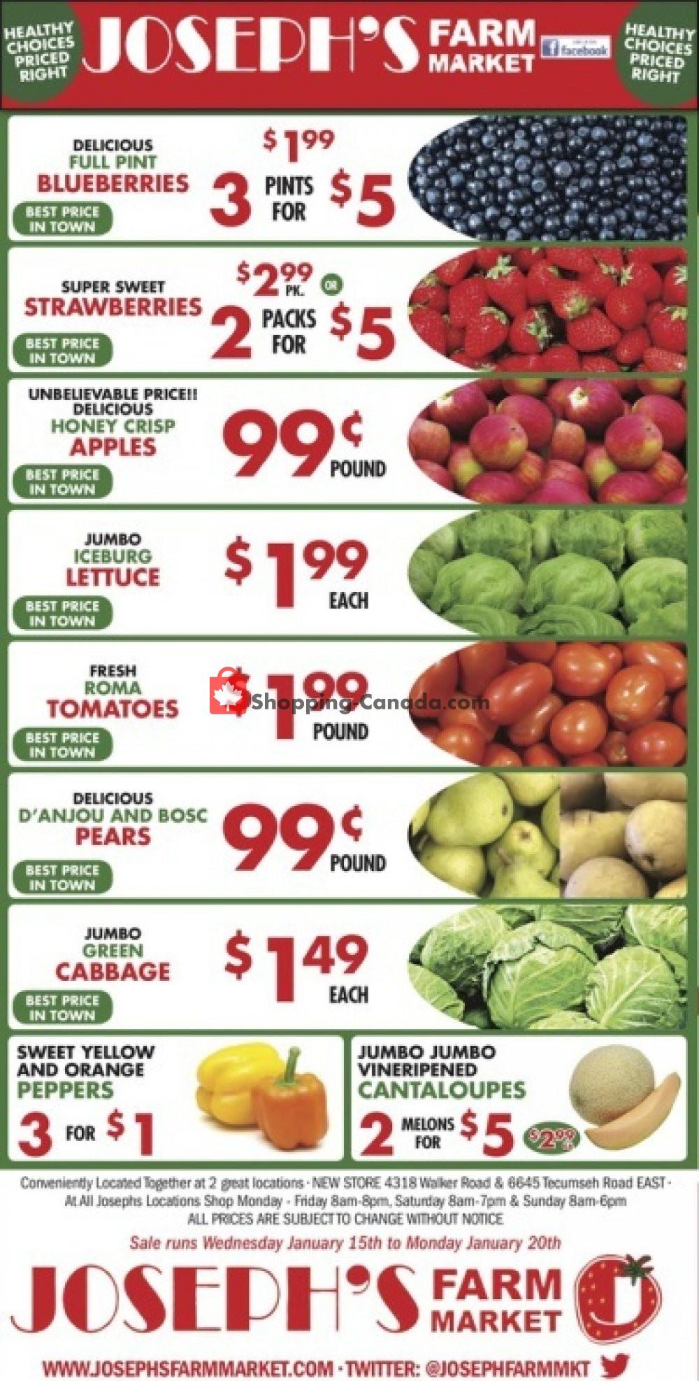Flyer Joseph's Farm Market Canada - from Wednesday January 15, 2020 to Monday January 20, 2020