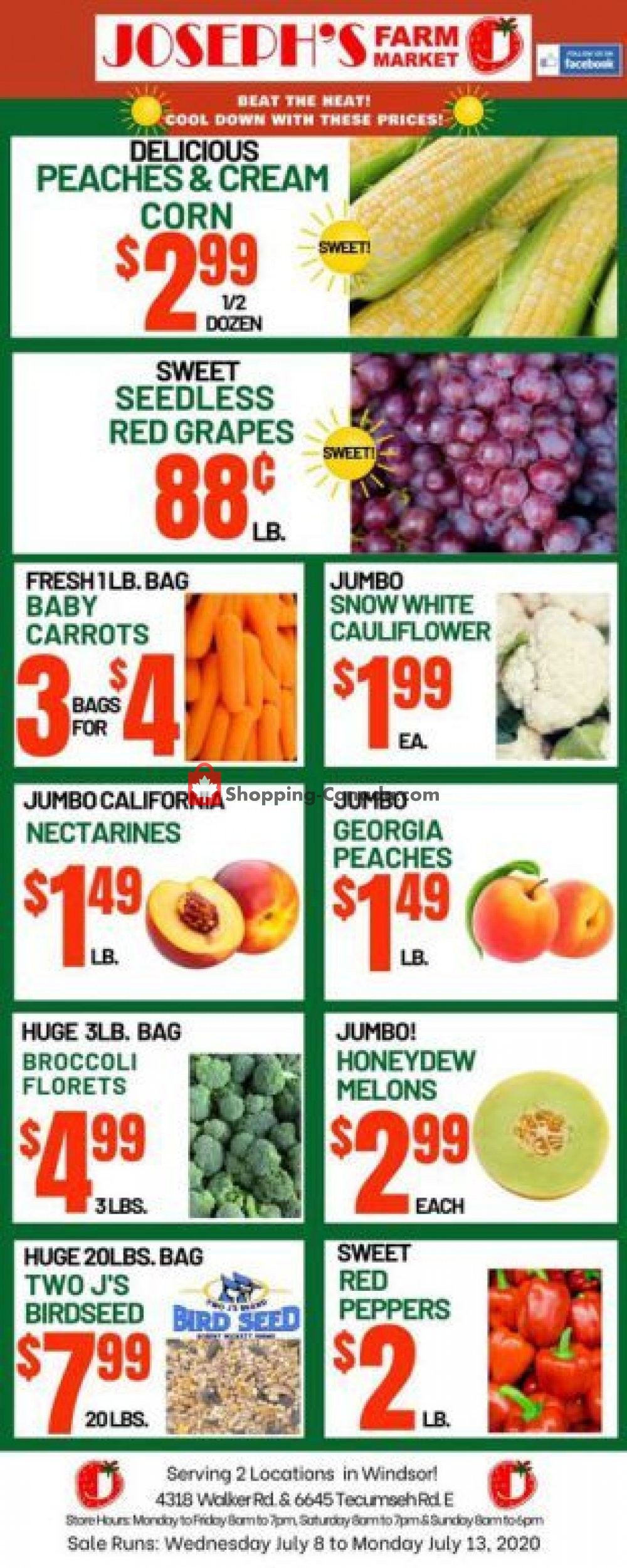 Flyer Joseph's Farm Market Canada - from Wednesday July 8, 2020 to Monday July 13, 2020