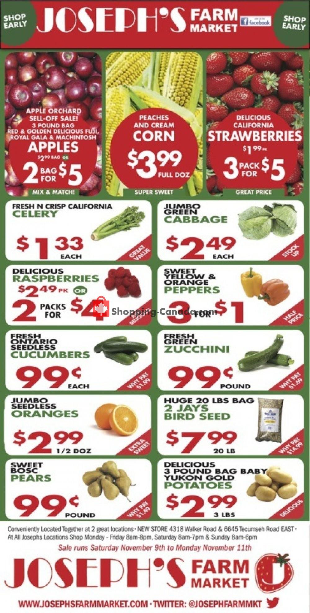 Flyer Joseph's Farm Market Canada - from Wednesday November 6, 2019 to Monday November 11, 2019