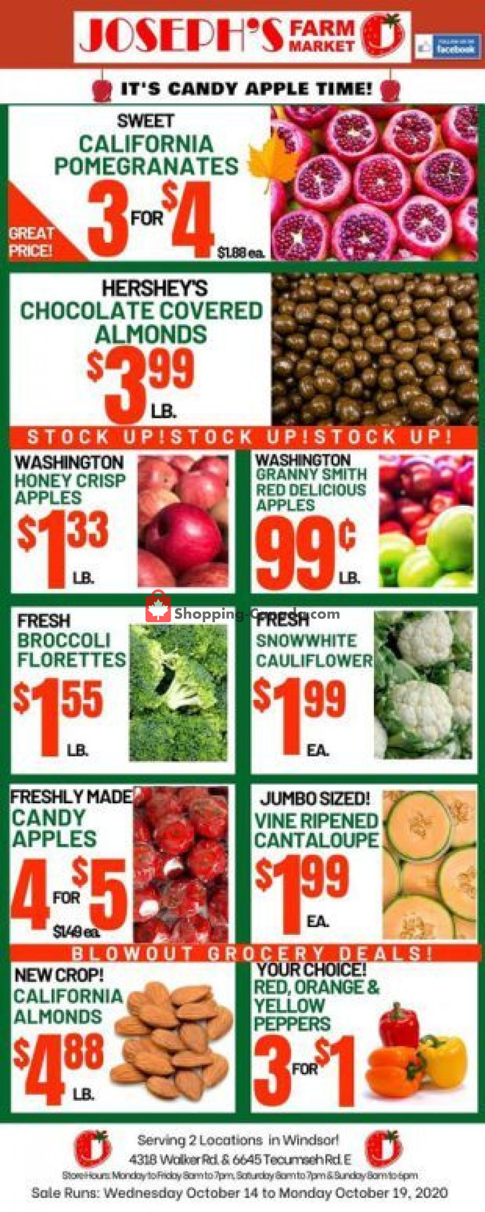 Flyer Joseph's Farm Market Canada - from Wednesday October 14, 2020 to Monday October 19, 2020