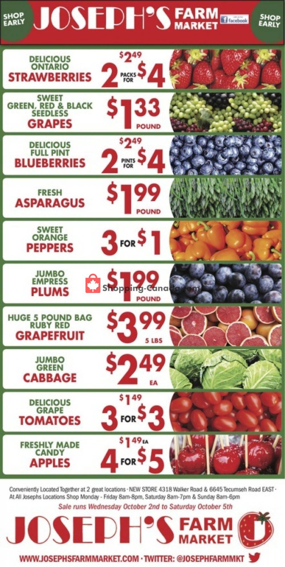 Flyer Joseph's Farm Market Canada - from Wednesday October 2, 2019 to Monday October 7, 2019