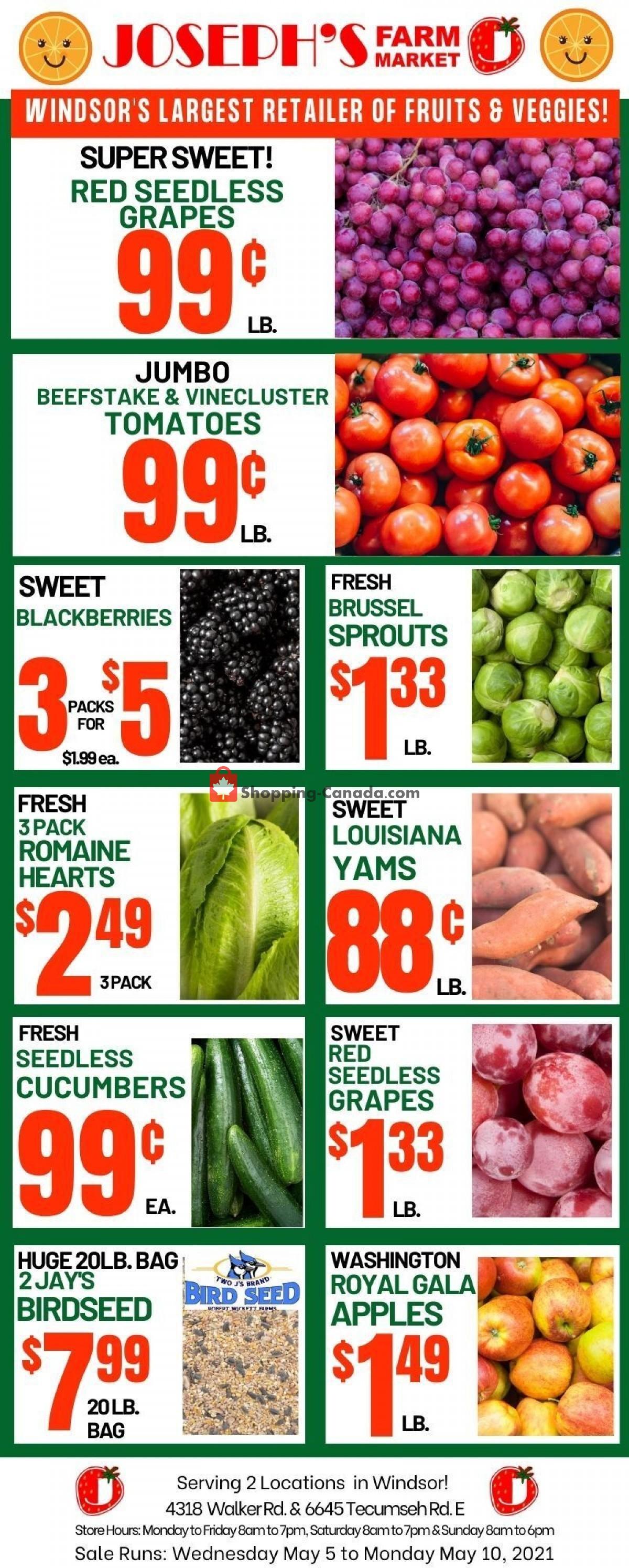 Flyer Joseph's Farm Market Canada - from Wednesday May 5, 2021 to Monday May 10, 2021