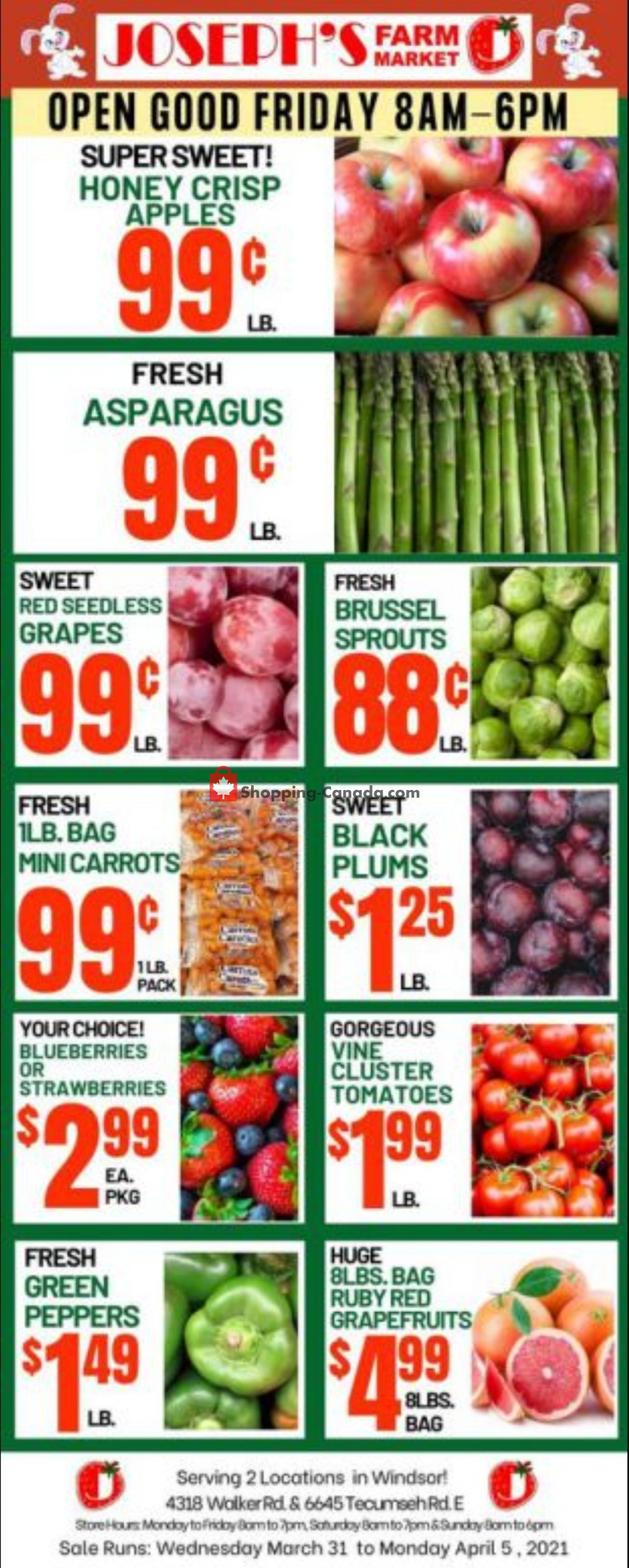 Flyer Joseph's Farm Market Canada - from Wednesday March 31, 2021 to Monday April 5, 2021