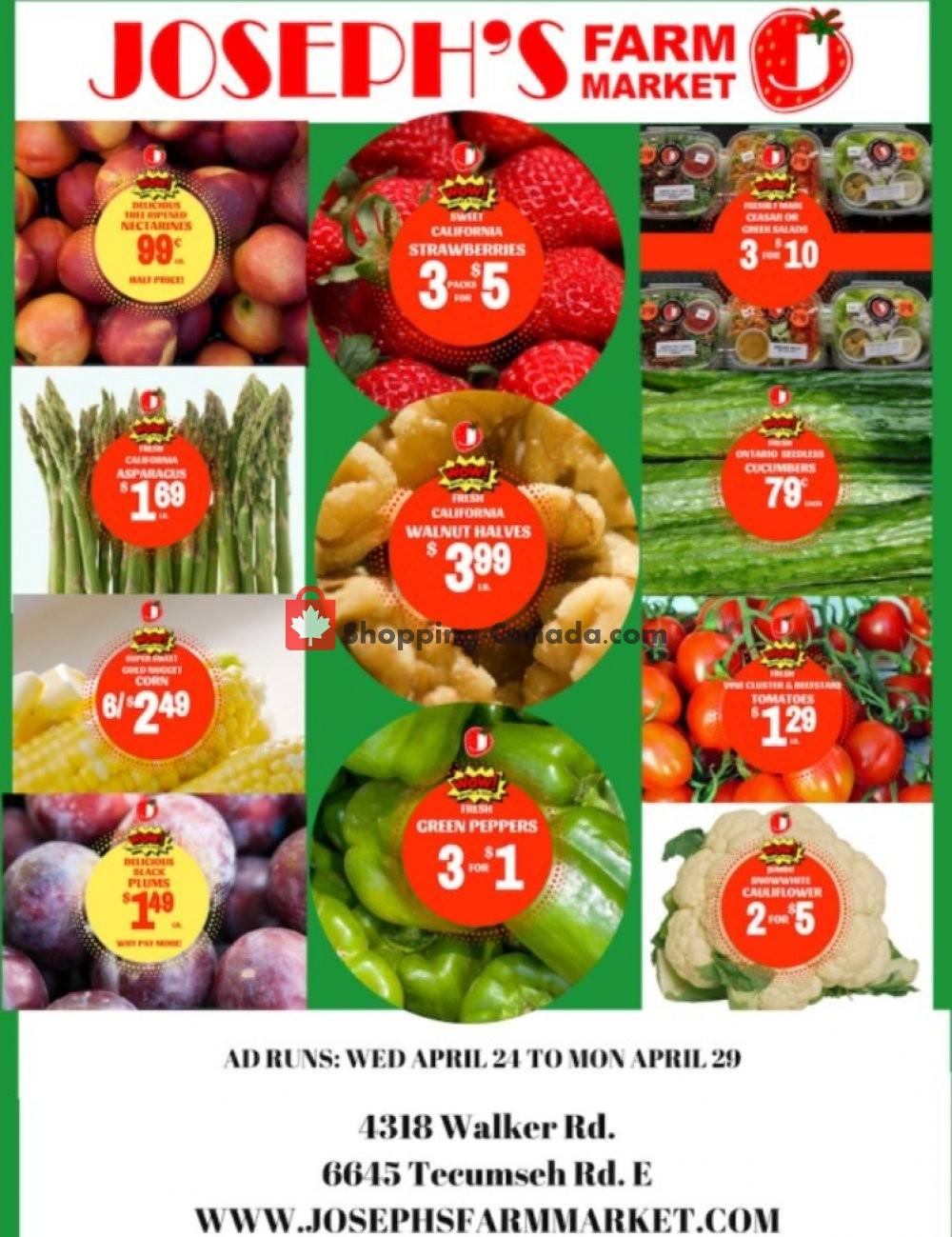 Flyer Joseph's Farm Market Canada - from Wednesday April 24, 2019 to Monday April 29, 2019