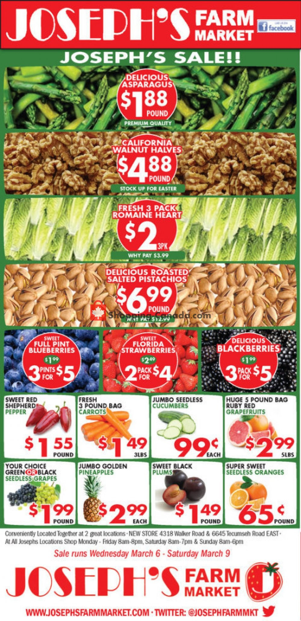 Flyer Joseph's Farm Market Canada - from Wednesday March 6, 2019 to Saturday March 9, 2019