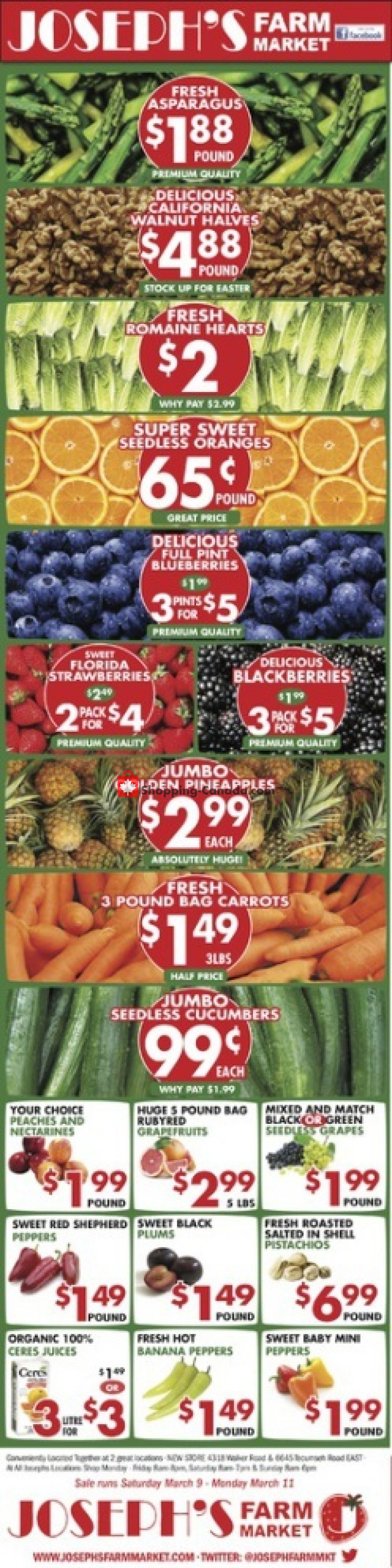Flyer Joseph's Farm Market Canada - from Saturday March 9, 2019 to Monday March 11, 2019