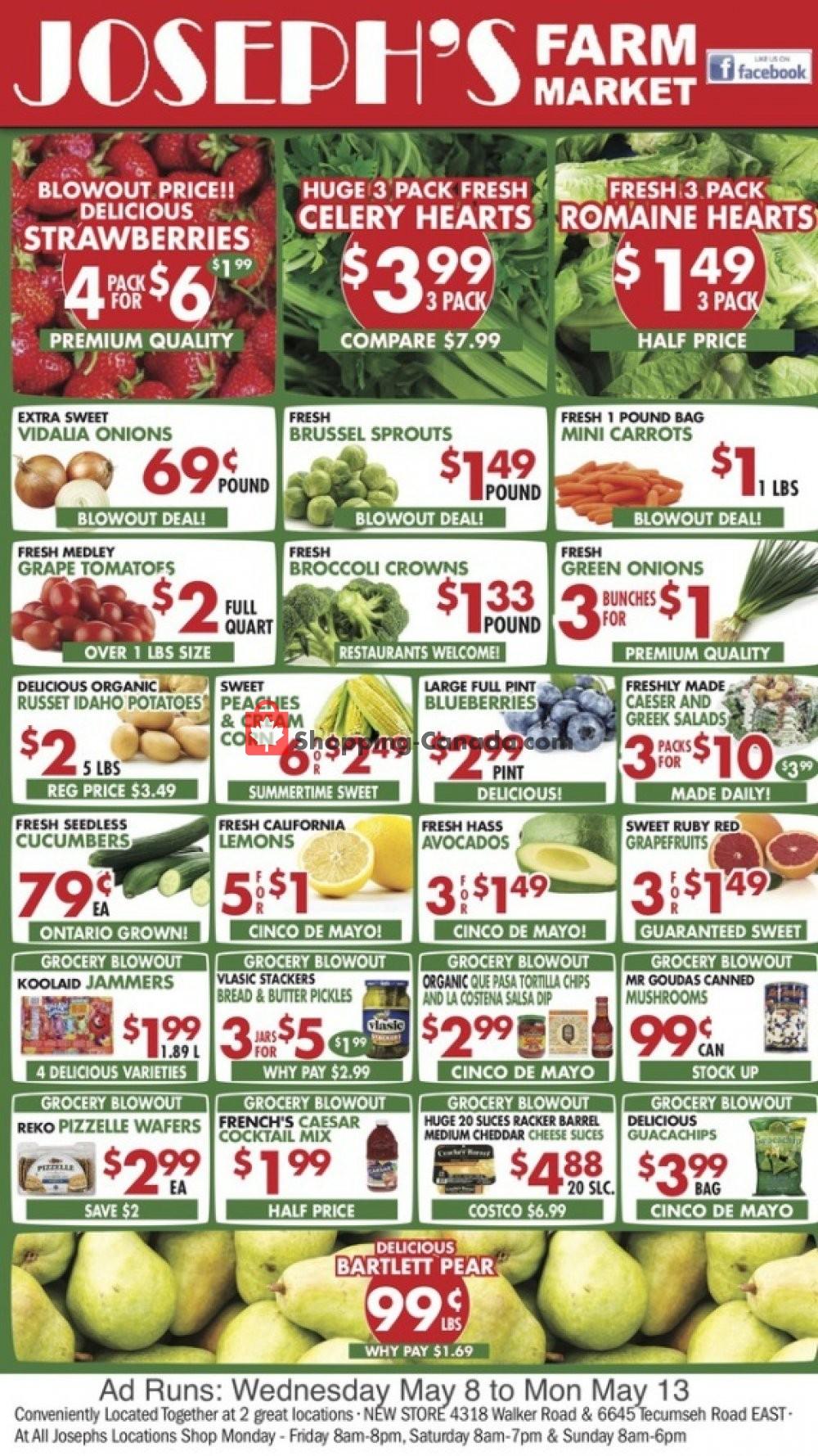 Flyer Joseph's Farm Market Canada - from Wednesday May 8, 2019 to Monday May 13, 2019