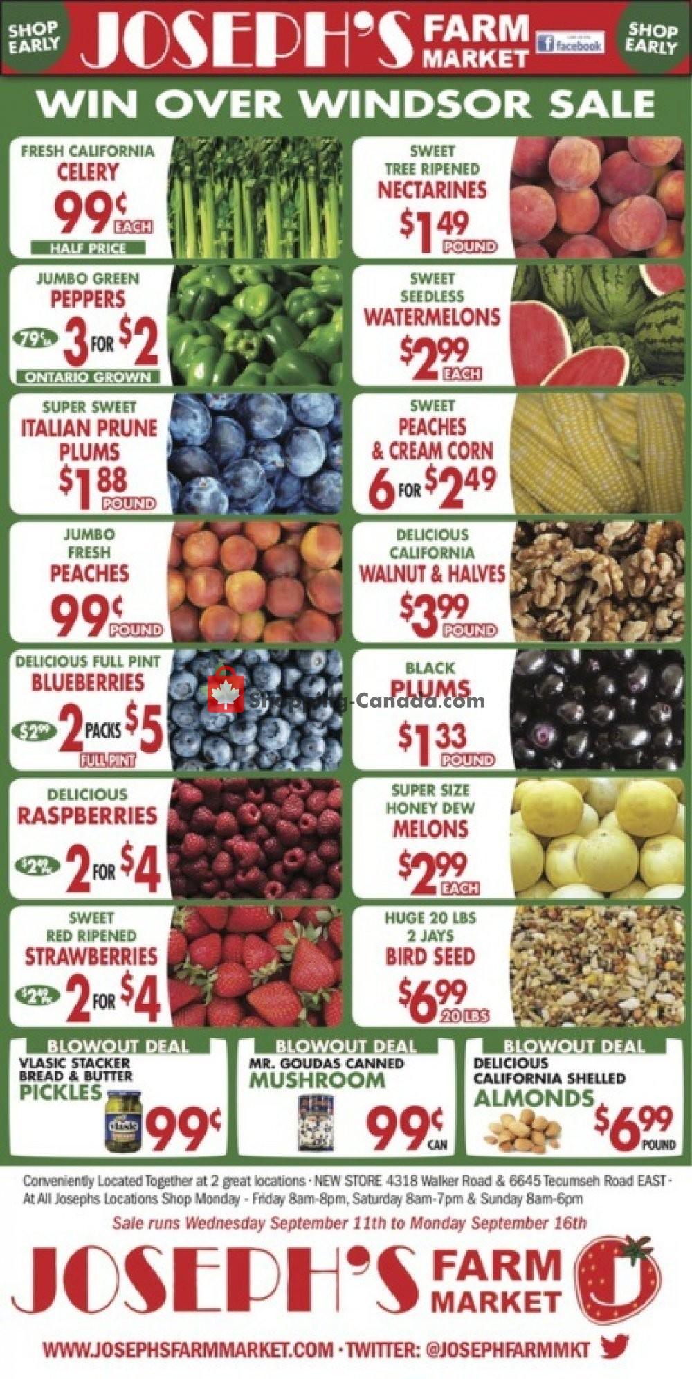 Flyer Joseph's Farm Market Canada - from Wednesday September 11, 2019 to Monday September 16, 2019