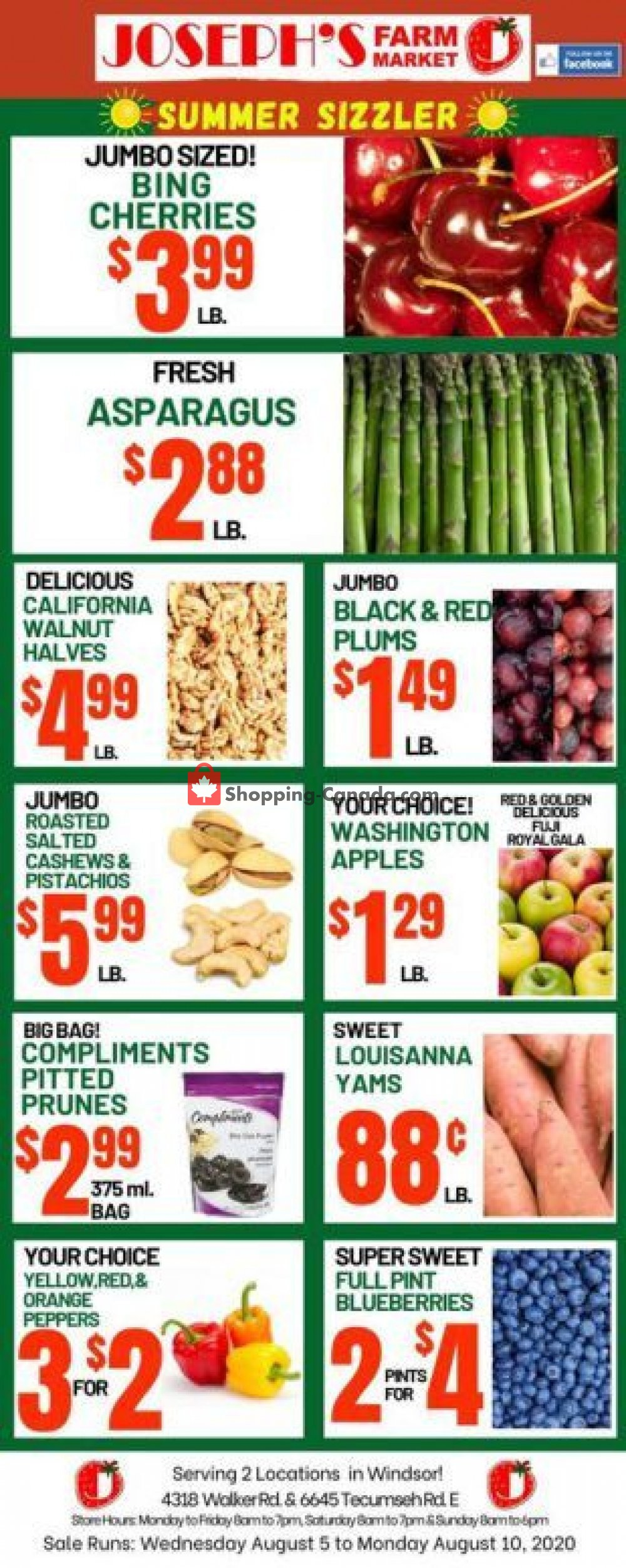 Flyer Joseph's Farm Market Canada - from Wednesday August 5, 2020 to Monday August 10, 2020