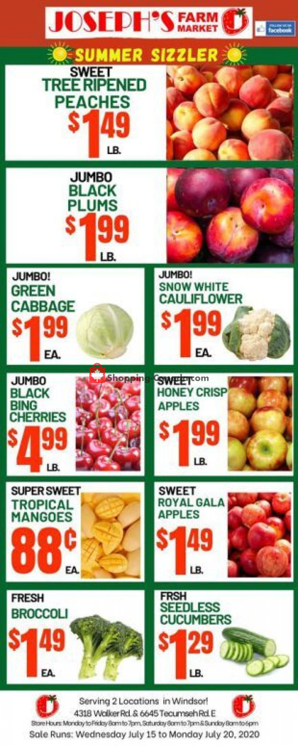 Flyer Joseph's Farm Market Canada - from Wednesday July 15, 2020 to Monday July 20, 2020