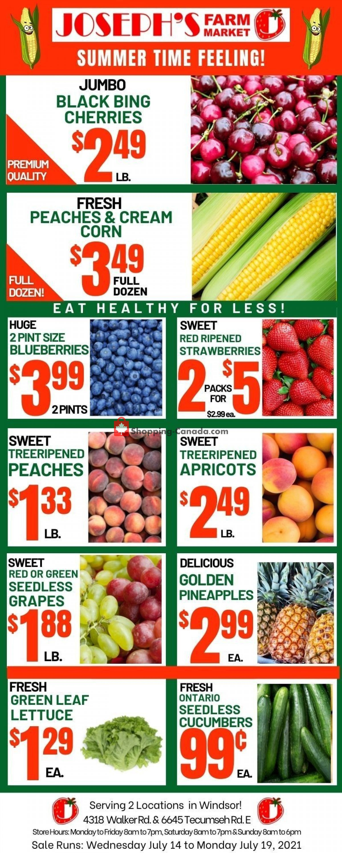 Flyer Joseph's Farm Market Canada - from Wednesday July 14, 2021 to Monday July 19, 2021