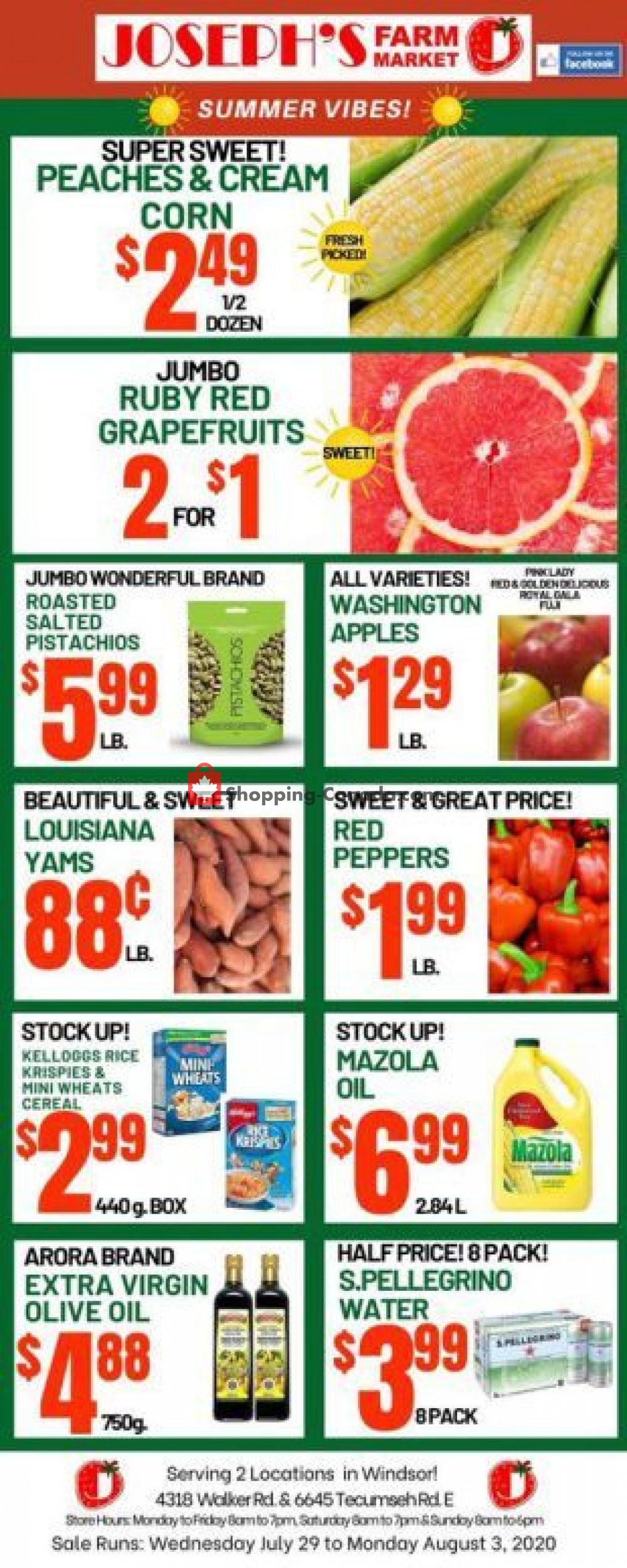 Flyer Joseph's Farm Market Canada - from Wednesday July 29, 2020 to Monday August 3, 2020