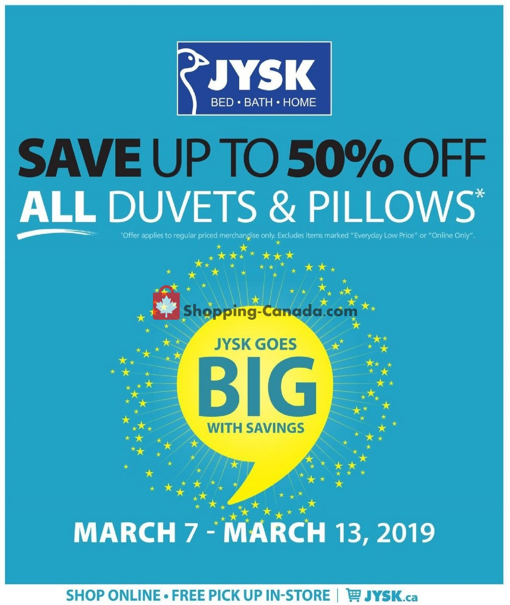Flyer JYSK Canada - from Thursday March 7, 2019 to Wednesday March 13, 2019