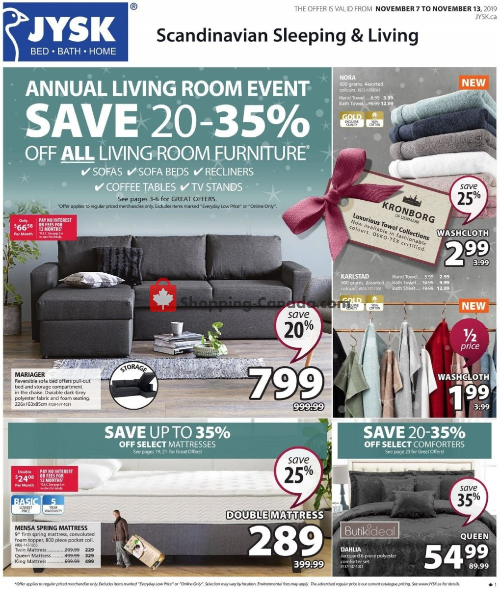 Flyer JYSK Canada - from Thursday November 7, 2019 to Wednesday November 13, 2019