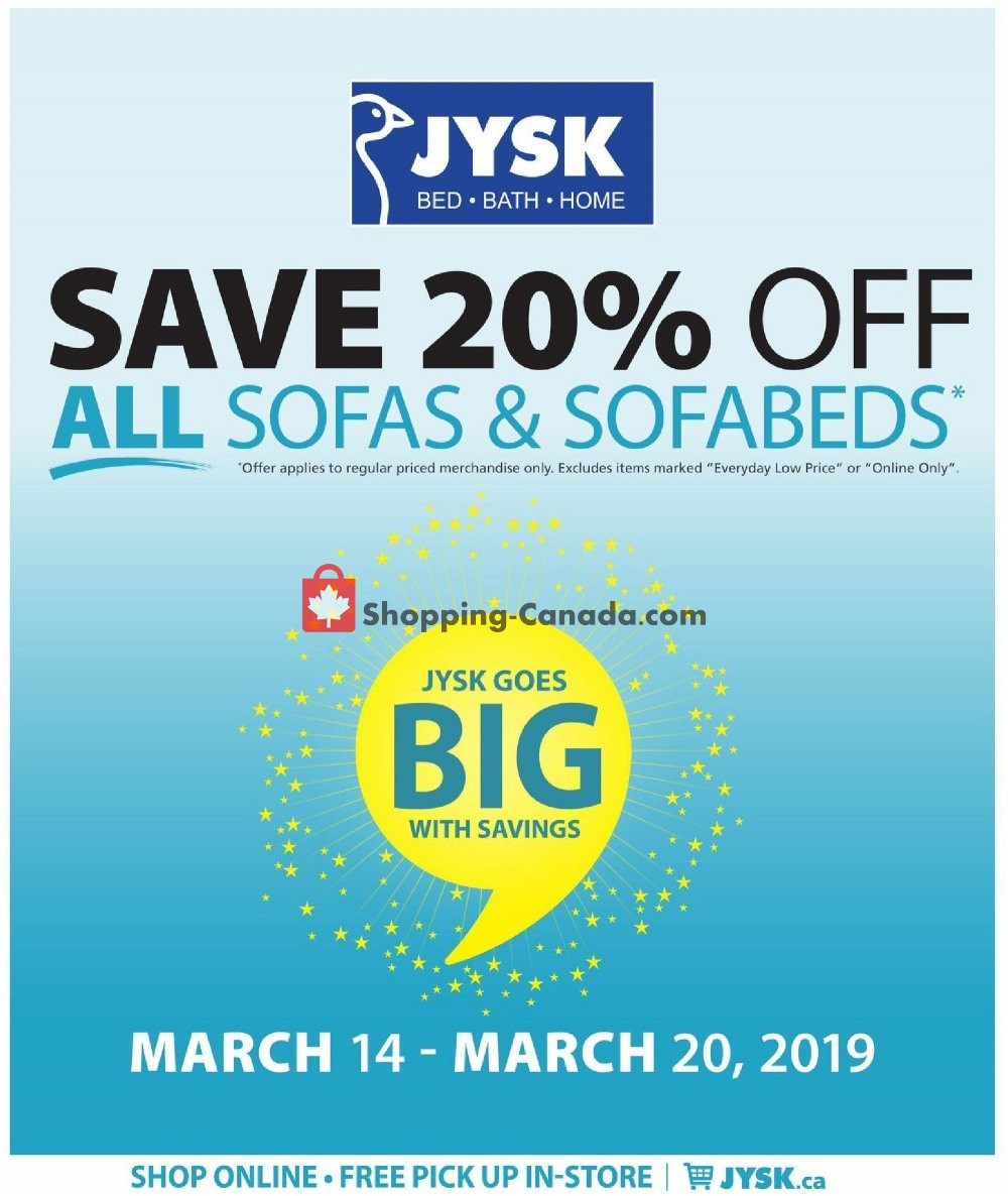 Flyer JYSK Canada - from Thursday March 14, 2019 to Wednesday March 20, 2019