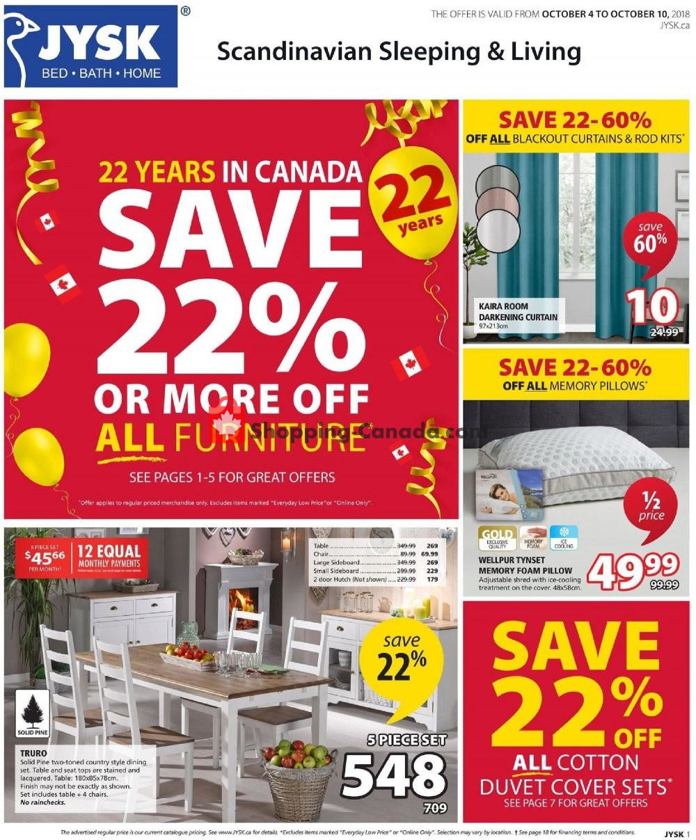 Flyer JYSK Canada - from Thursday October 4, 2018 to Wednesday October 10, 2018