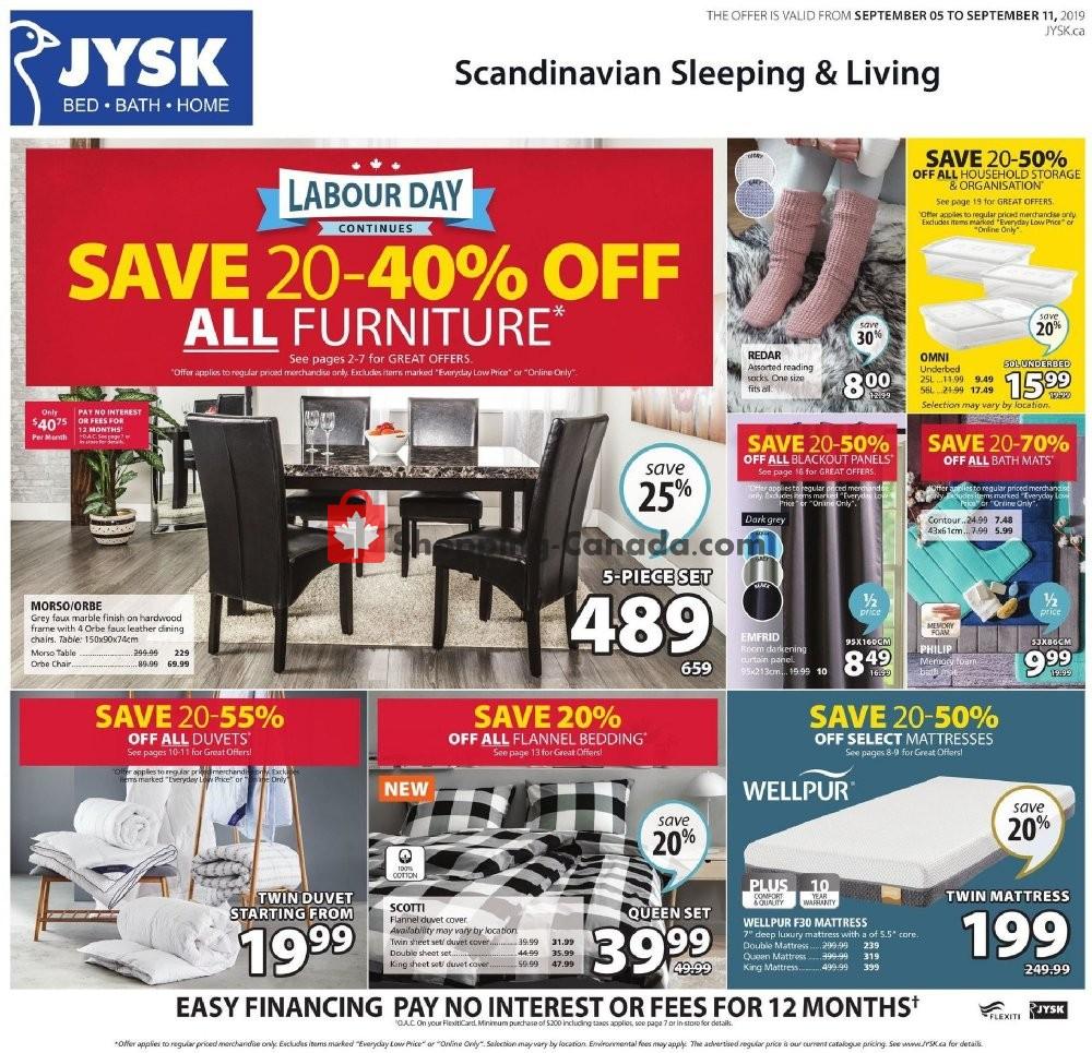 Flyer JYSK Canada - from Thursday September 5, 2019 to Wednesday September 11, 2019