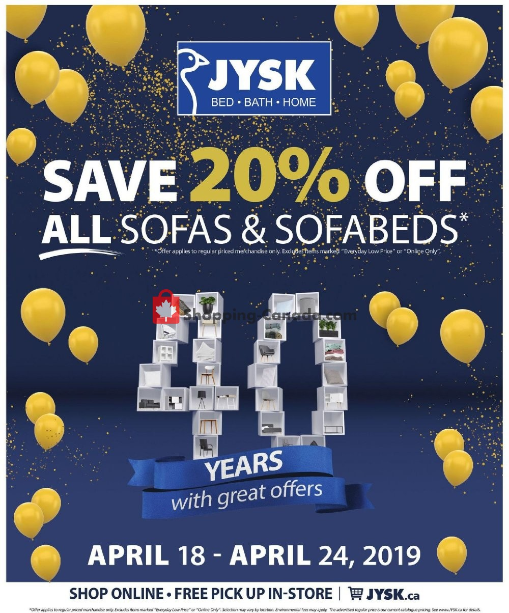 Flyer JYSK Canada - from Thursday April 18, 2019 to Wednesday April 24, 2019