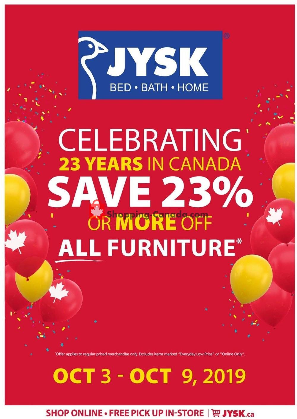 Flyer JYSK Canada - from Thursday October 3, 2019 to Wednesday October 9, 2019