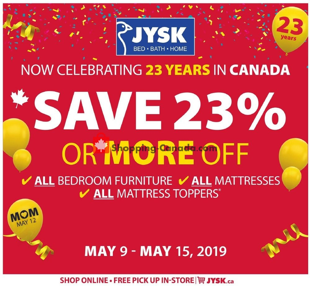 Flyer JYSK Canada - from Thursday May 9, 2019 to Wednesday May 15, 2019